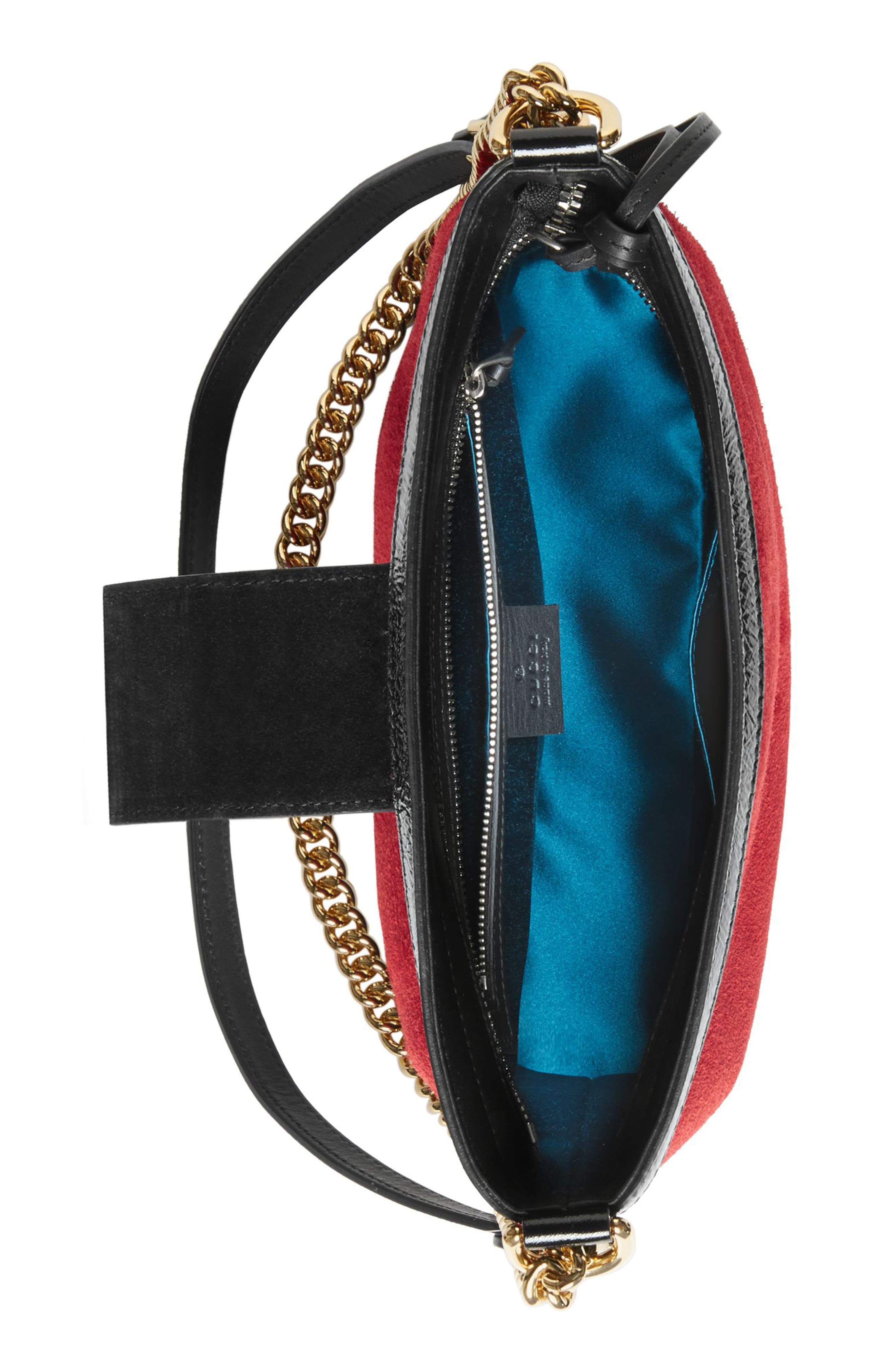 GUCCI,                             Medium Dionysus Suede Shoulder Bag,                             Alternate thumbnail 3, color,                             HIBISCUS RED/ NERO
