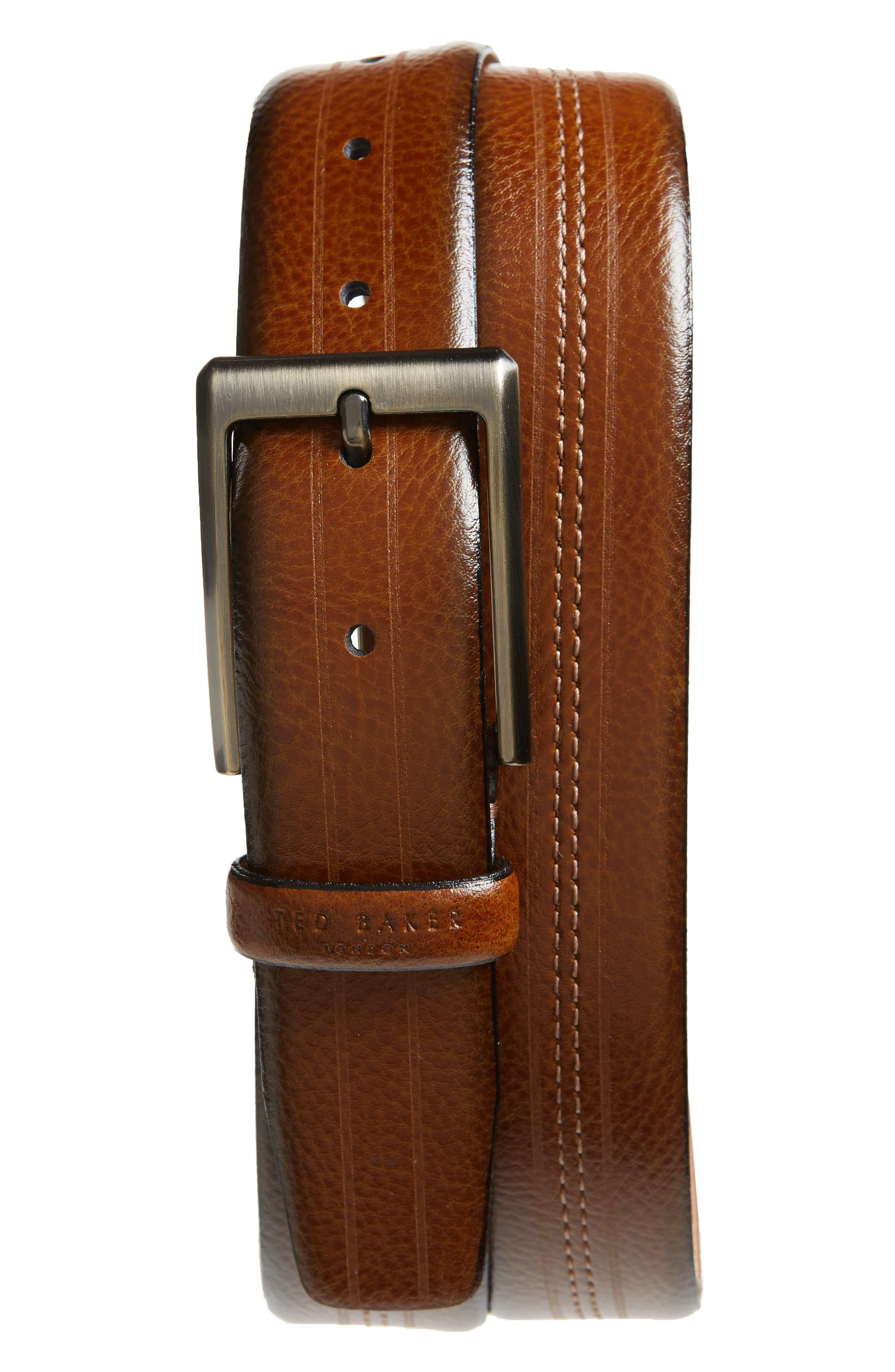 Aggra Leather Belt,                             Main thumbnail 1, color,                             TAN