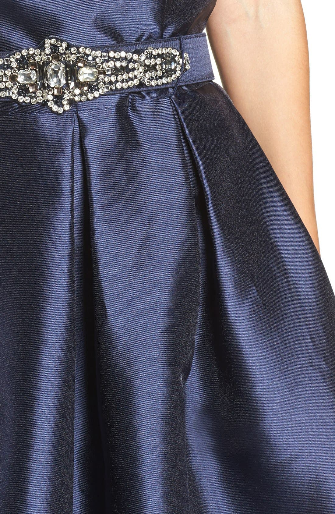 Belted Mikado Ballgown,                             Alternate thumbnail 4, color,                             410