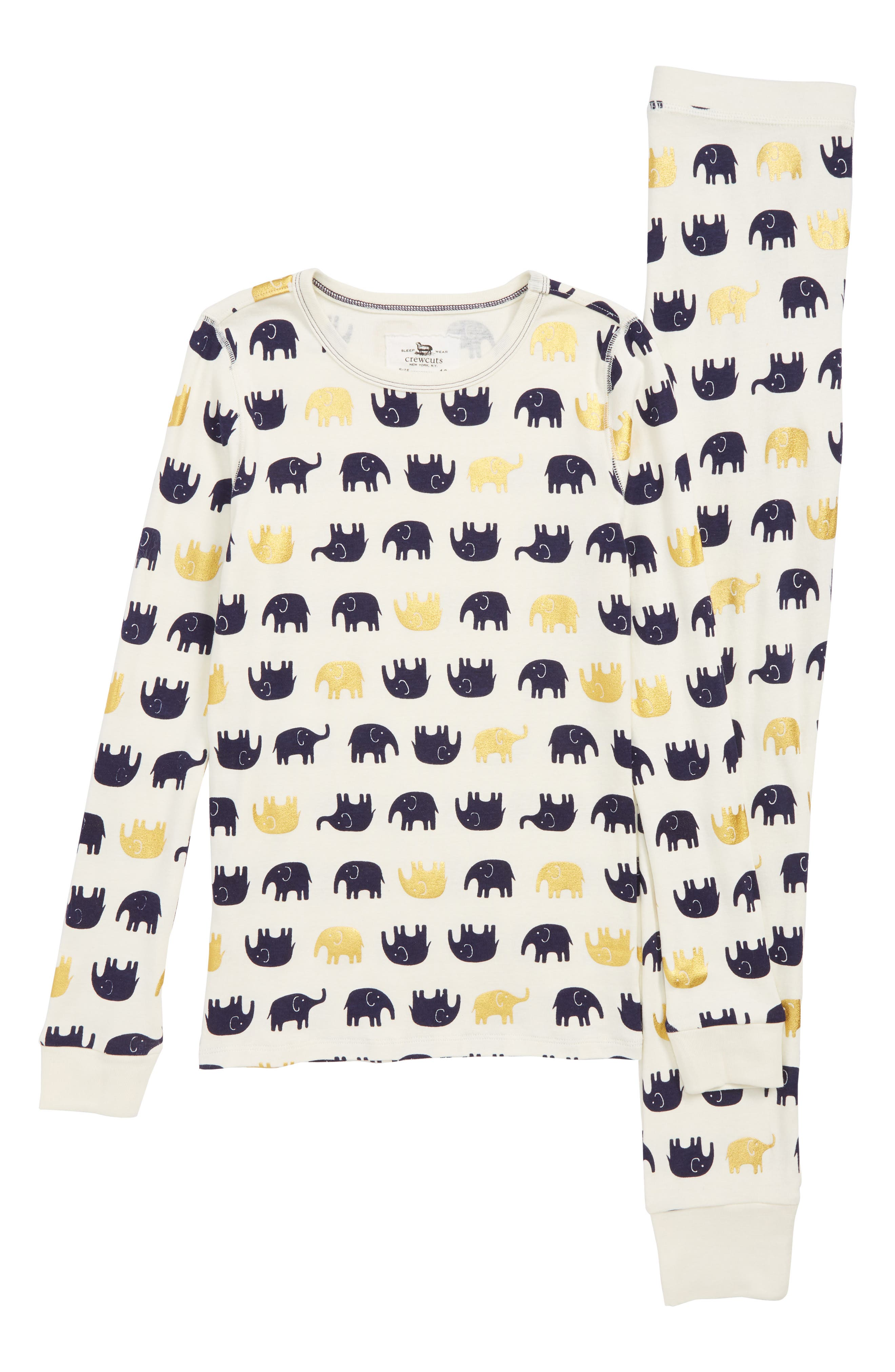 Elephants Fitted Two-Piece Pajamas, Main, color, 400