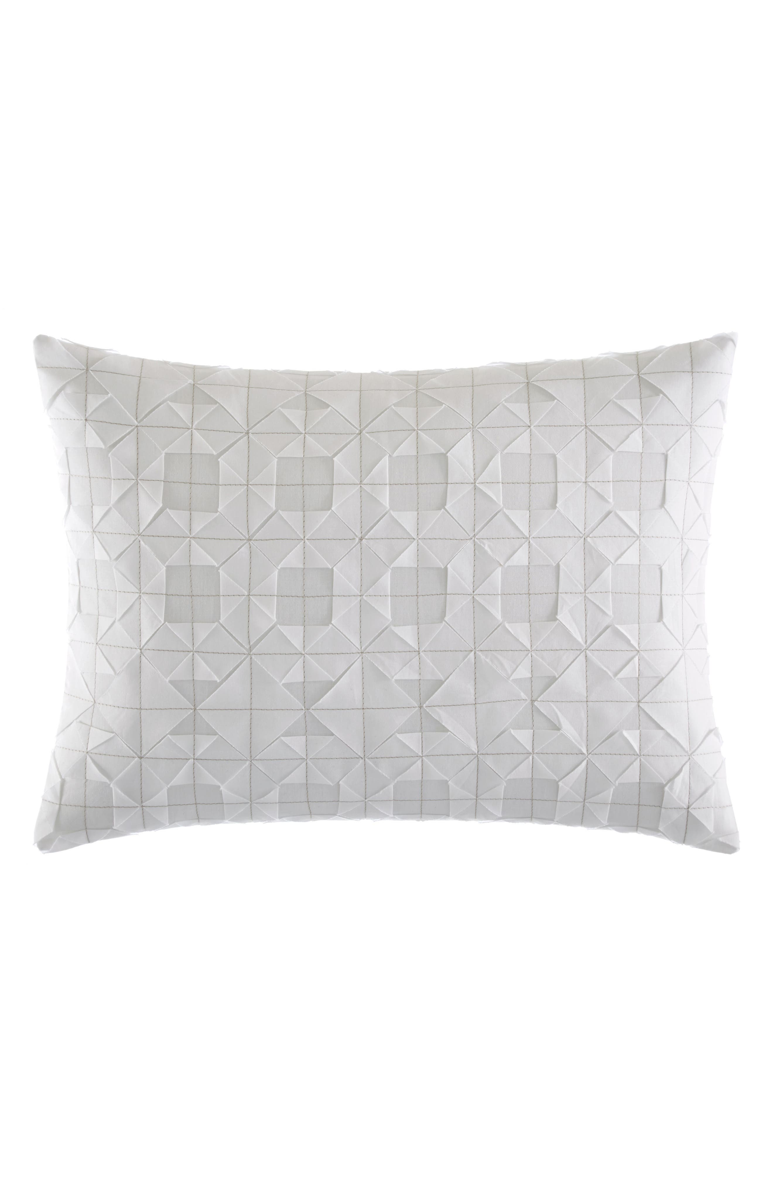 Tuille Origami Stitched Accent Pillow,                             Main thumbnail 1, color,                             WHITE