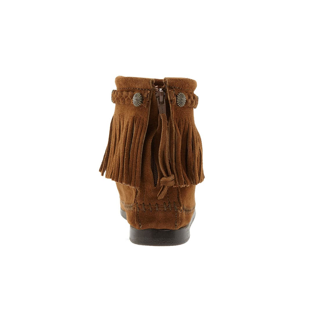 Fringed Moccasin Bootie,                             Alternate thumbnail 4, color,                             BROWN