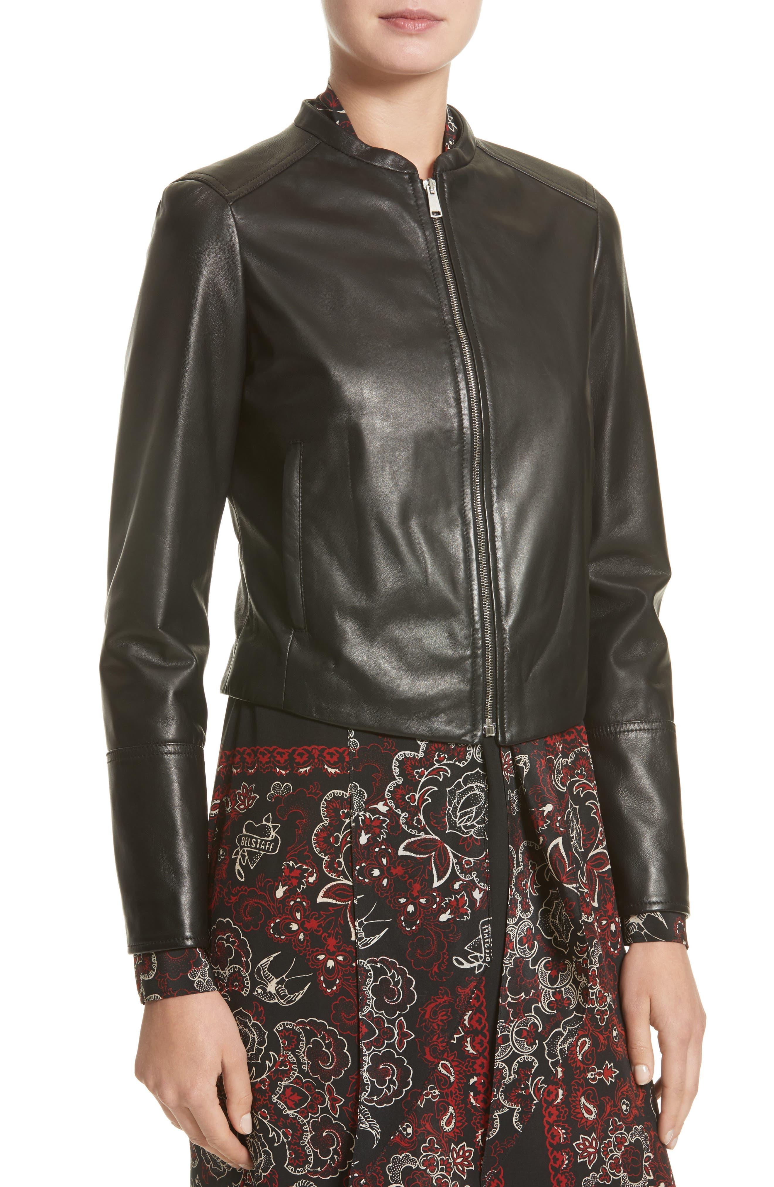 Carrack Leather Jacket,                             Alternate thumbnail 4, color,                             001
