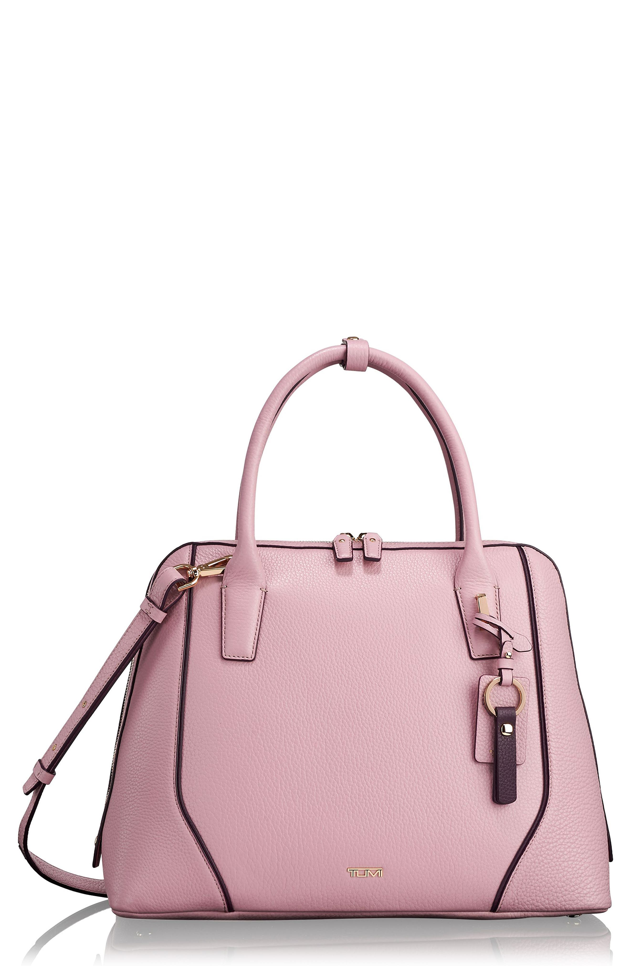 Stanton Janet Leather Dome Satchel Briefcase,                         Main,                         color, PINK
