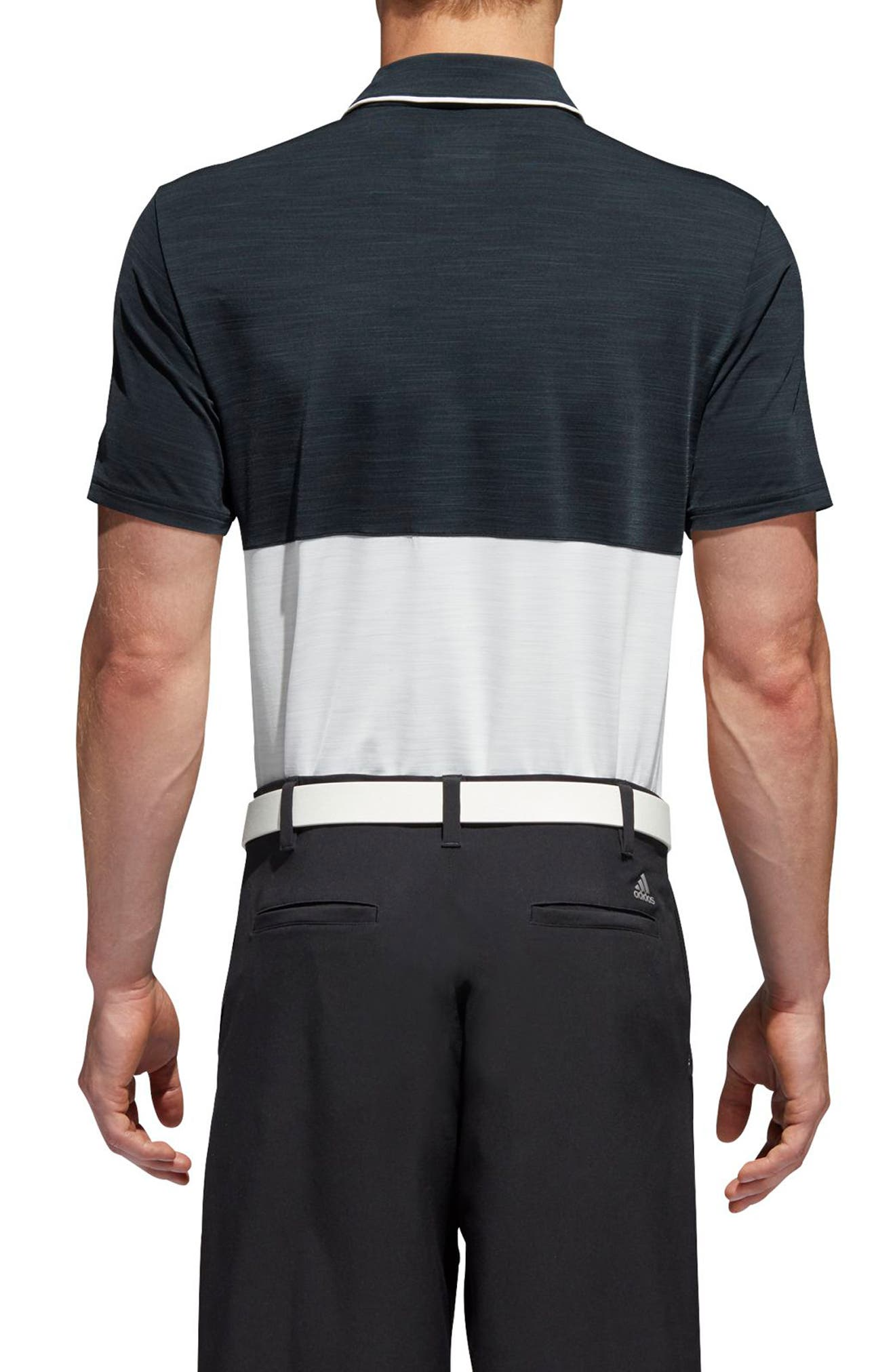 adidas Ultimate Heather Colorblock Regular Fit Polo Shirt,                             Alternate thumbnail 2, color,                             NAVY/ GREY