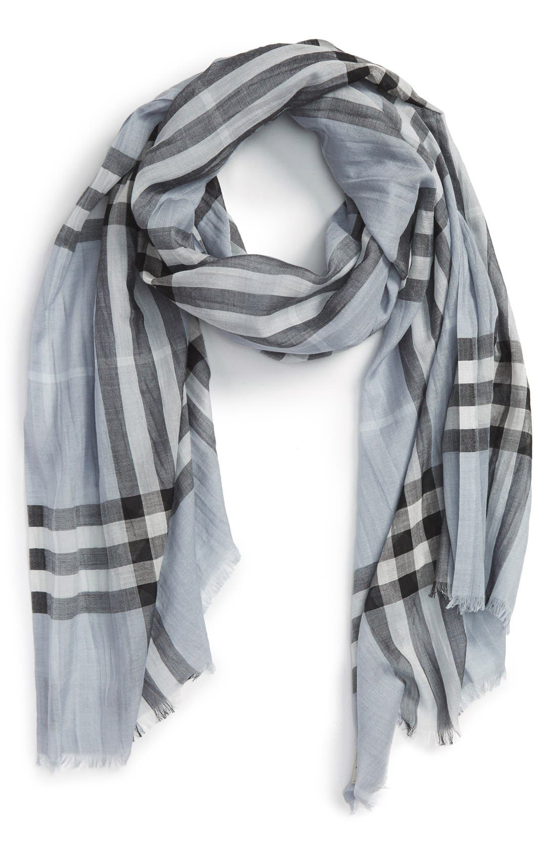 Giant Check Print Wool & Silk Scarf,                             Alternate thumbnail 93, color,