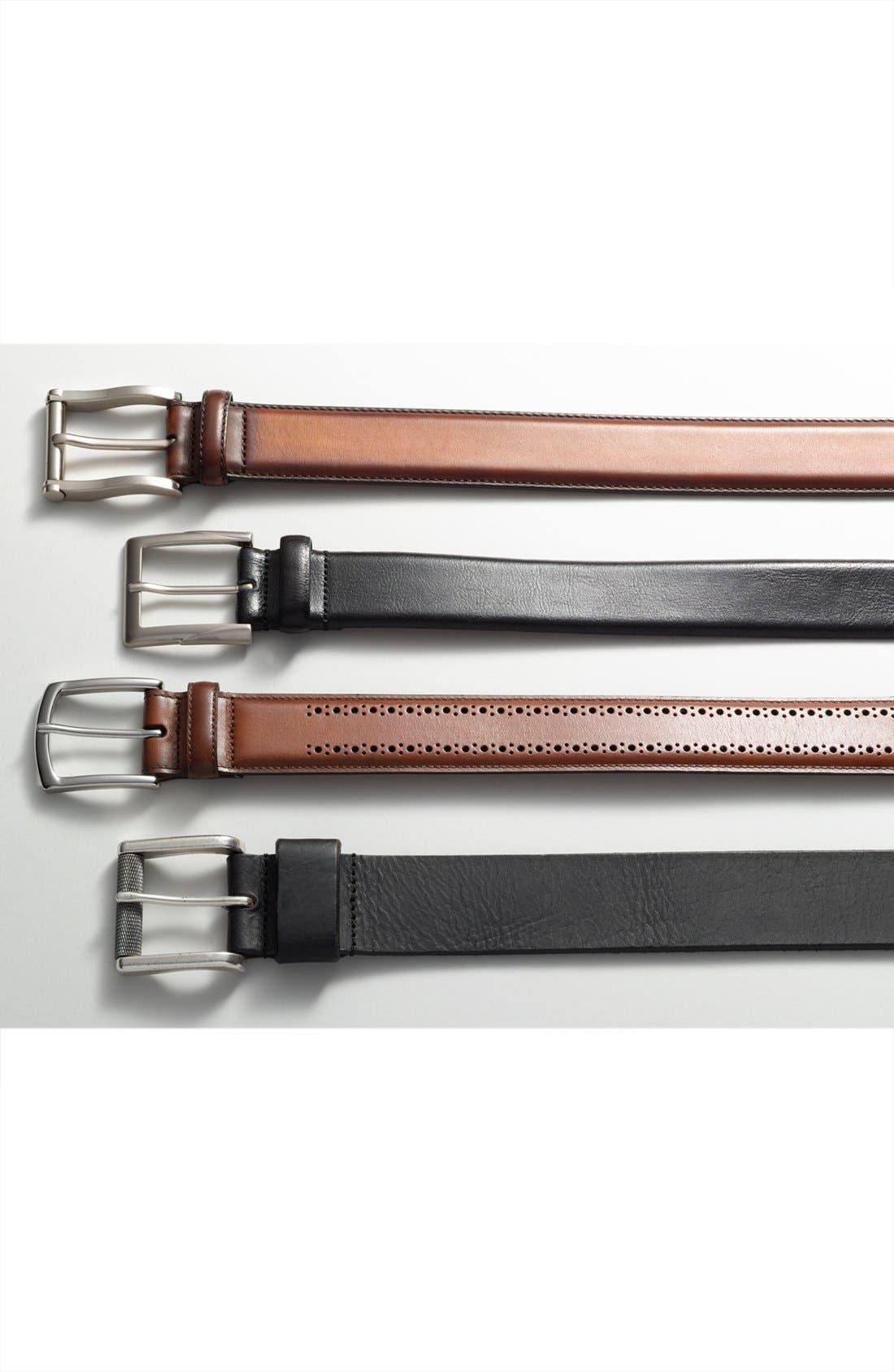 'Rafferty' Leather Belt,                             Alternate thumbnail 3, color,                             BLACK