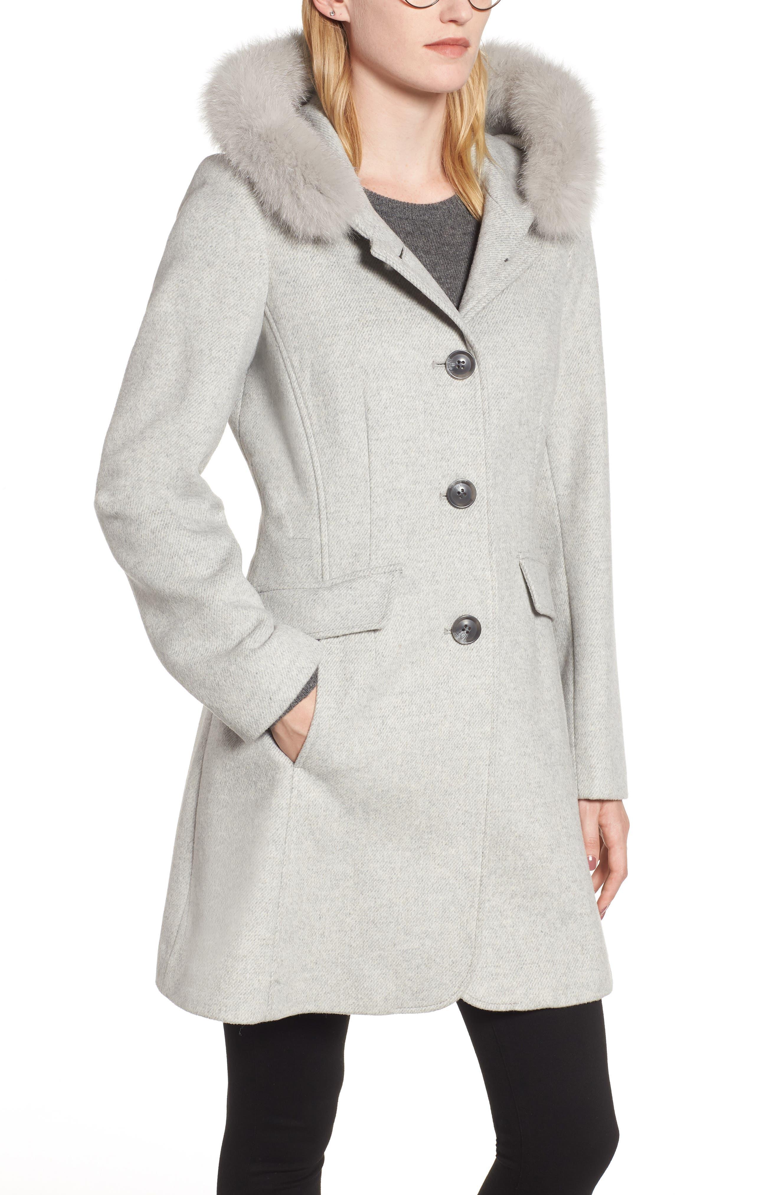 KRISTEN BLAKE,                             Genuine Fox Trim Hooded Wool Coat,                             Alternate thumbnail 4, color,                             GREY MELANGE