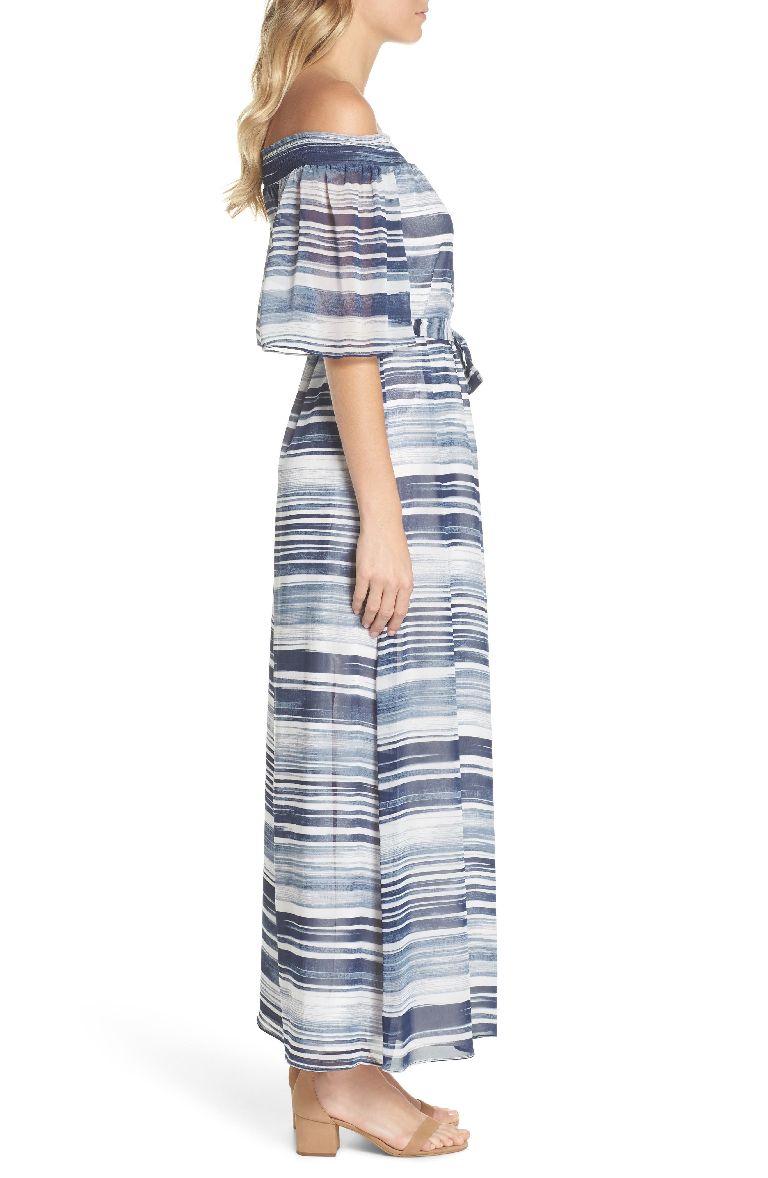 San Onofre Off the Shoulder Maxi Dress,                             Alternate thumbnail 3, color,                             INDIGO
