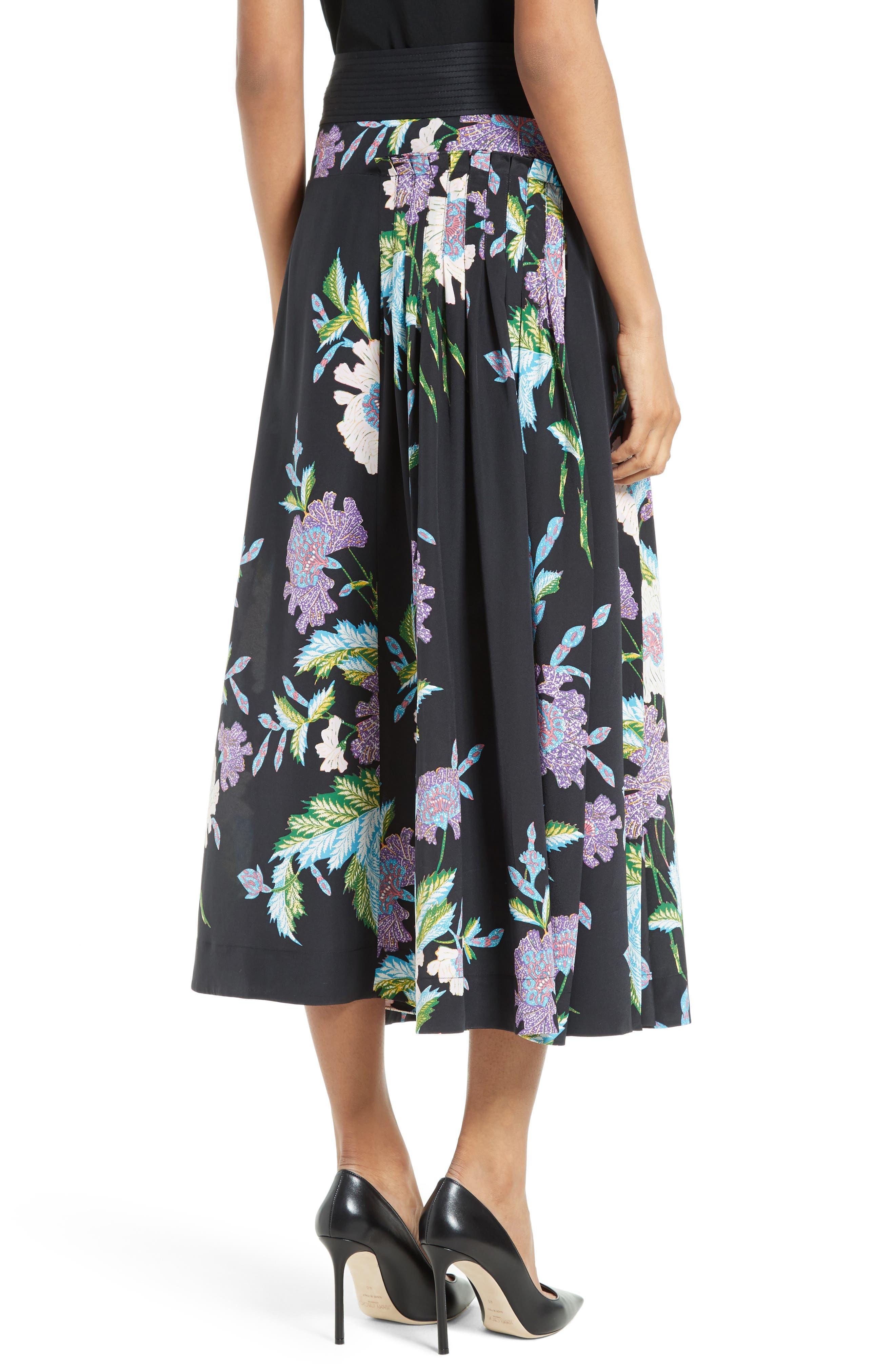 Diane von Furstenberg Floral Silk Midi Skirt,                             Alternate thumbnail 4, color,