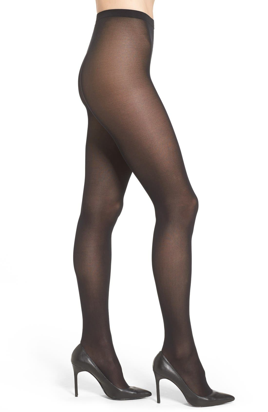 WOLFORD,                             'Velvet de Luxe' Semi-Opaque Tights,                             Main thumbnail 1, color,                             001