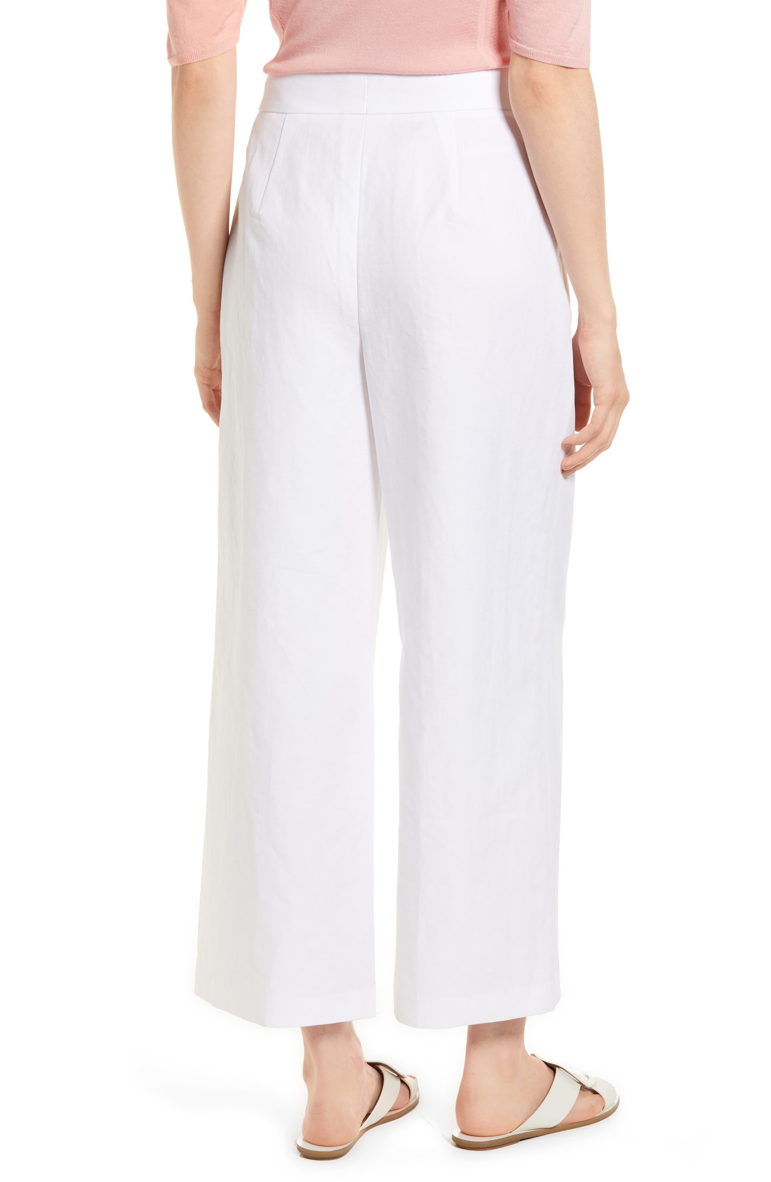 Pleated Wide Leg Linen & Cotton Pants,                             Alternate thumbnail 2, color,                             100