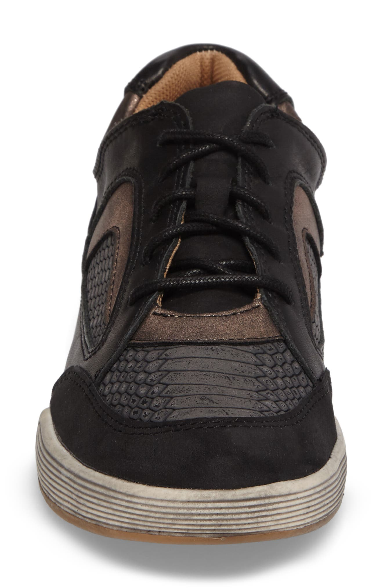 Lemont Snake Embossed Sneaker,                             Alternate thumbnail 4, color,                             BLACK SNAKE PRINT LEATHER