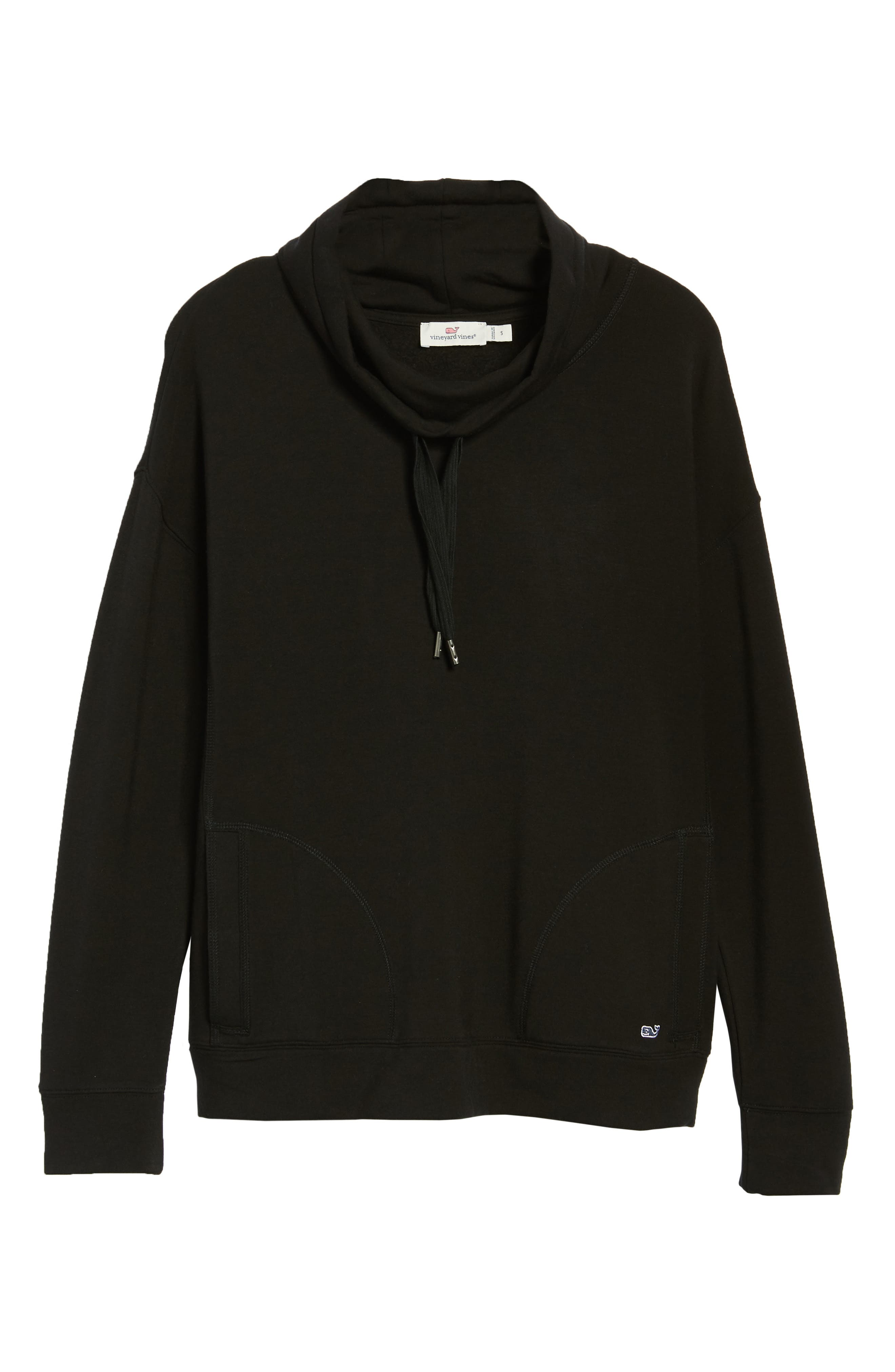 Funnel Neck Sweatshirt,                             Alternate thumbnail 6, color,                             JET BLACK