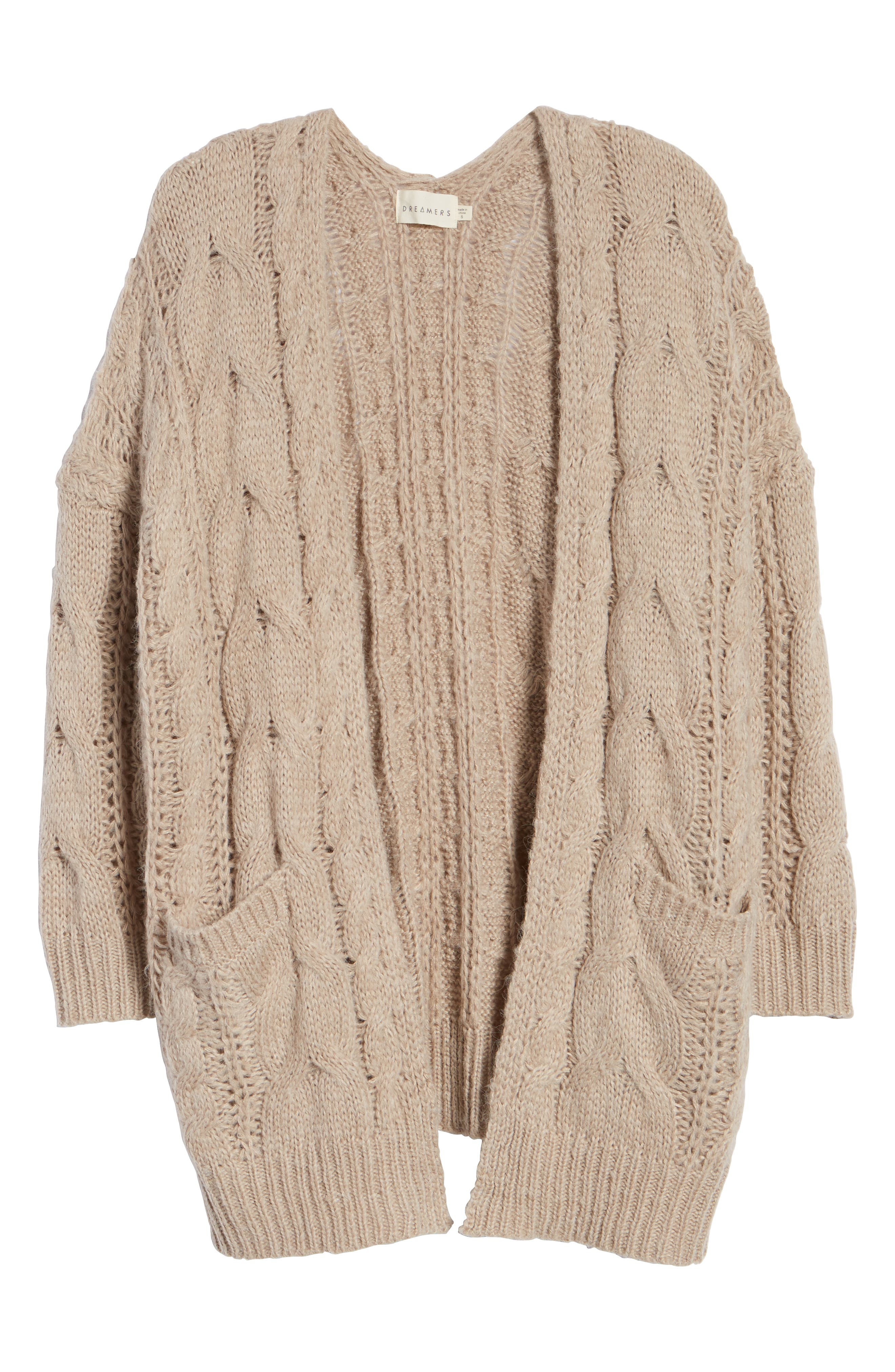 Chunky Cable Knit Cardigan,                             Alternate thumbnail 6, color,                             TAUPE