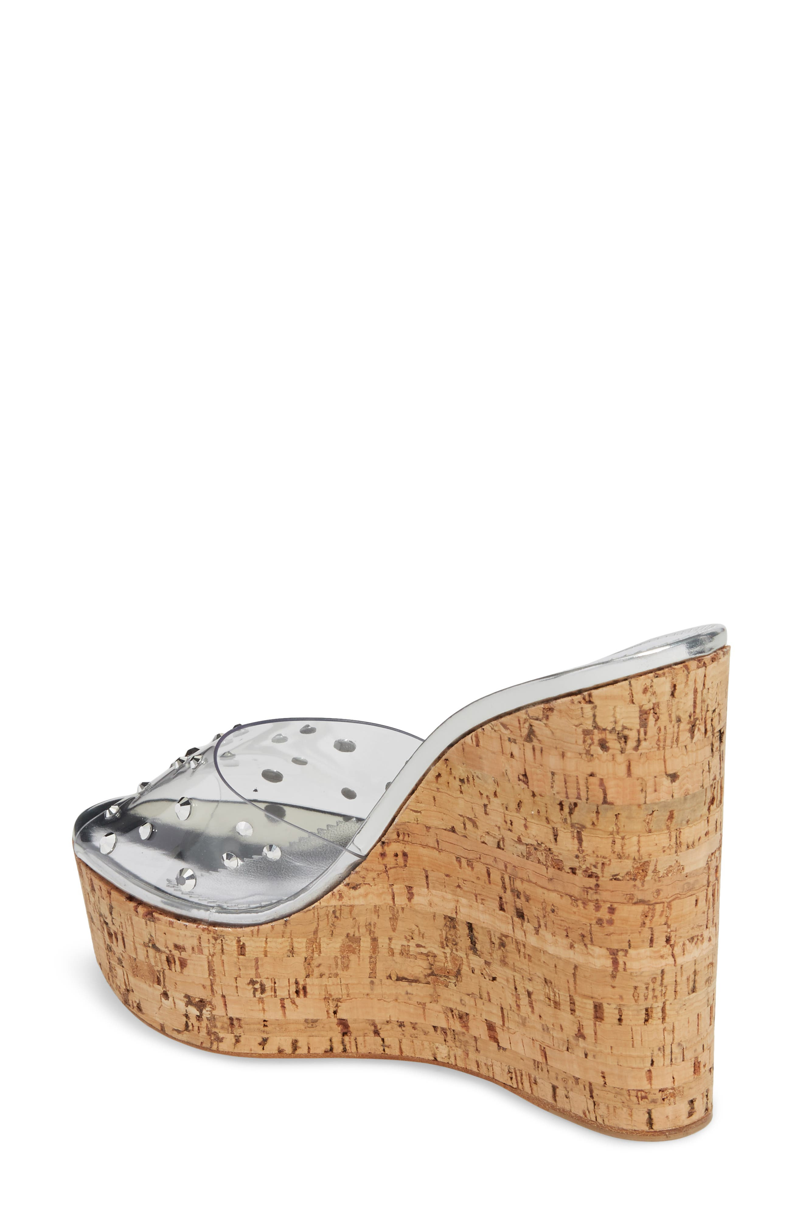 Clear Studded Platform Wedge Sandal,                             Alternate thumbnail 2, color,                             043