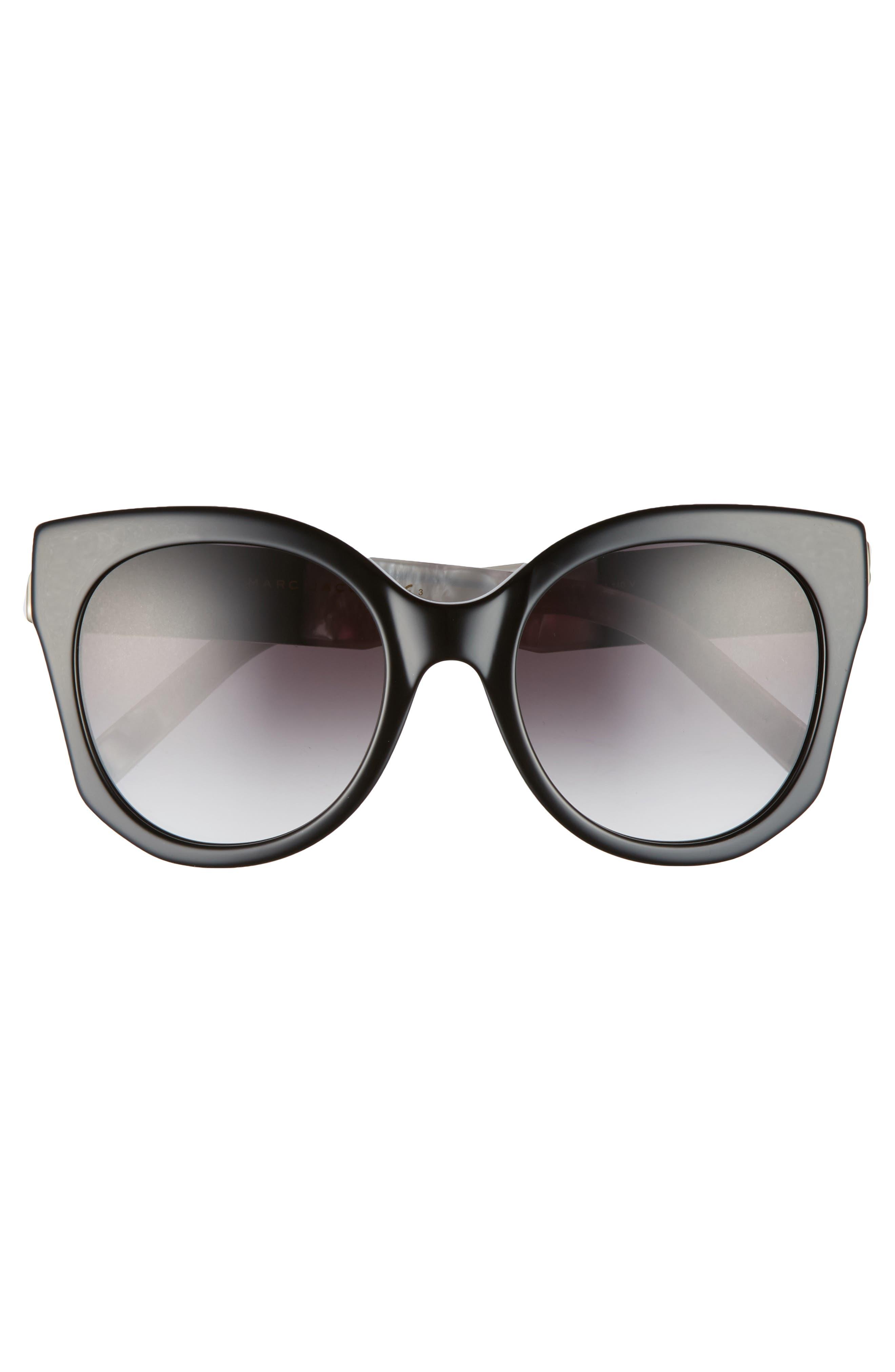 53mm Gradient Lens Cat Eye Sunglasses,                             Alternate thumbnail 3, color,                             001