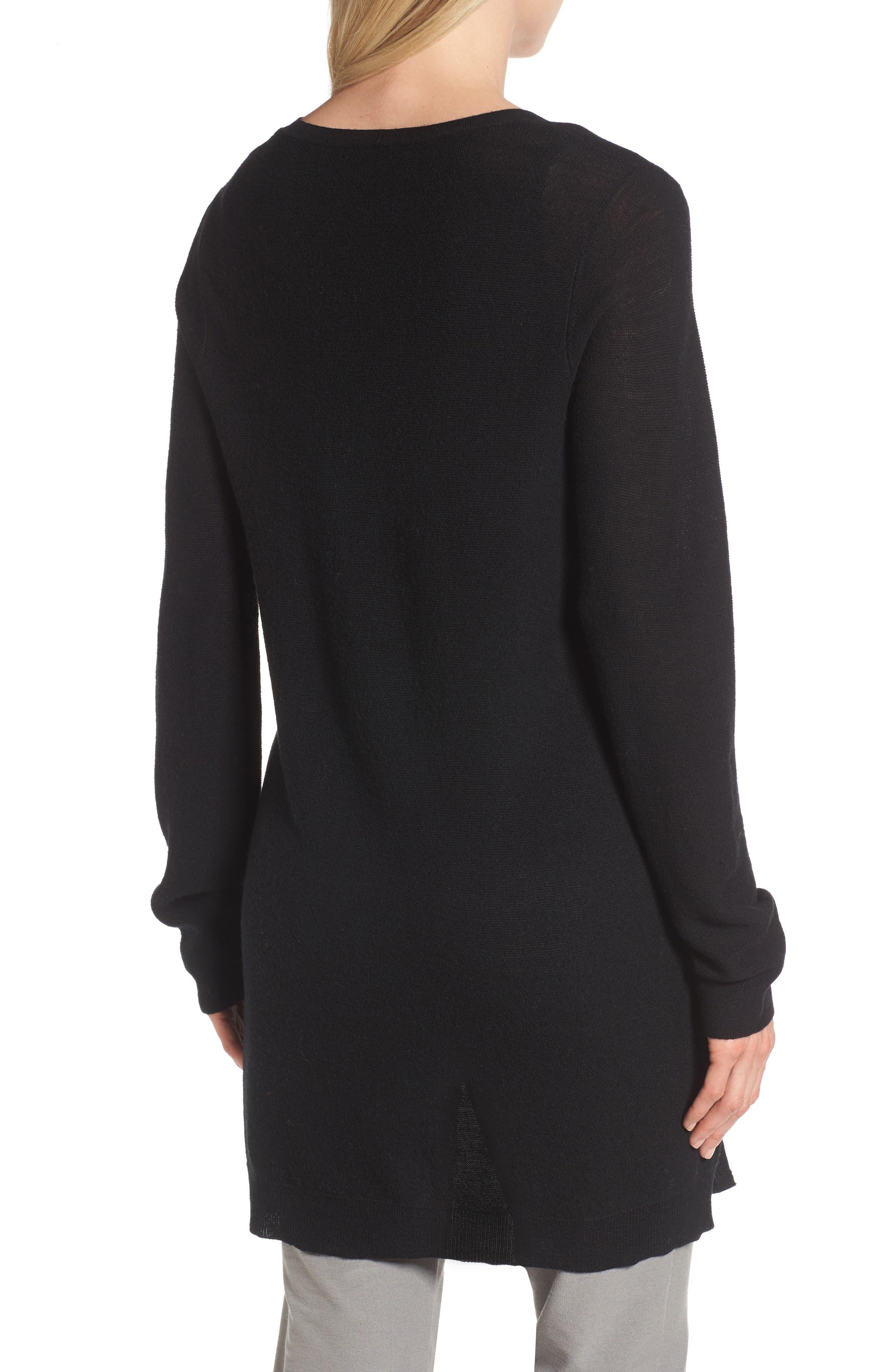 High/Low Merino Wool Sweater,                             Alternate thumbnail 2, color,                             001