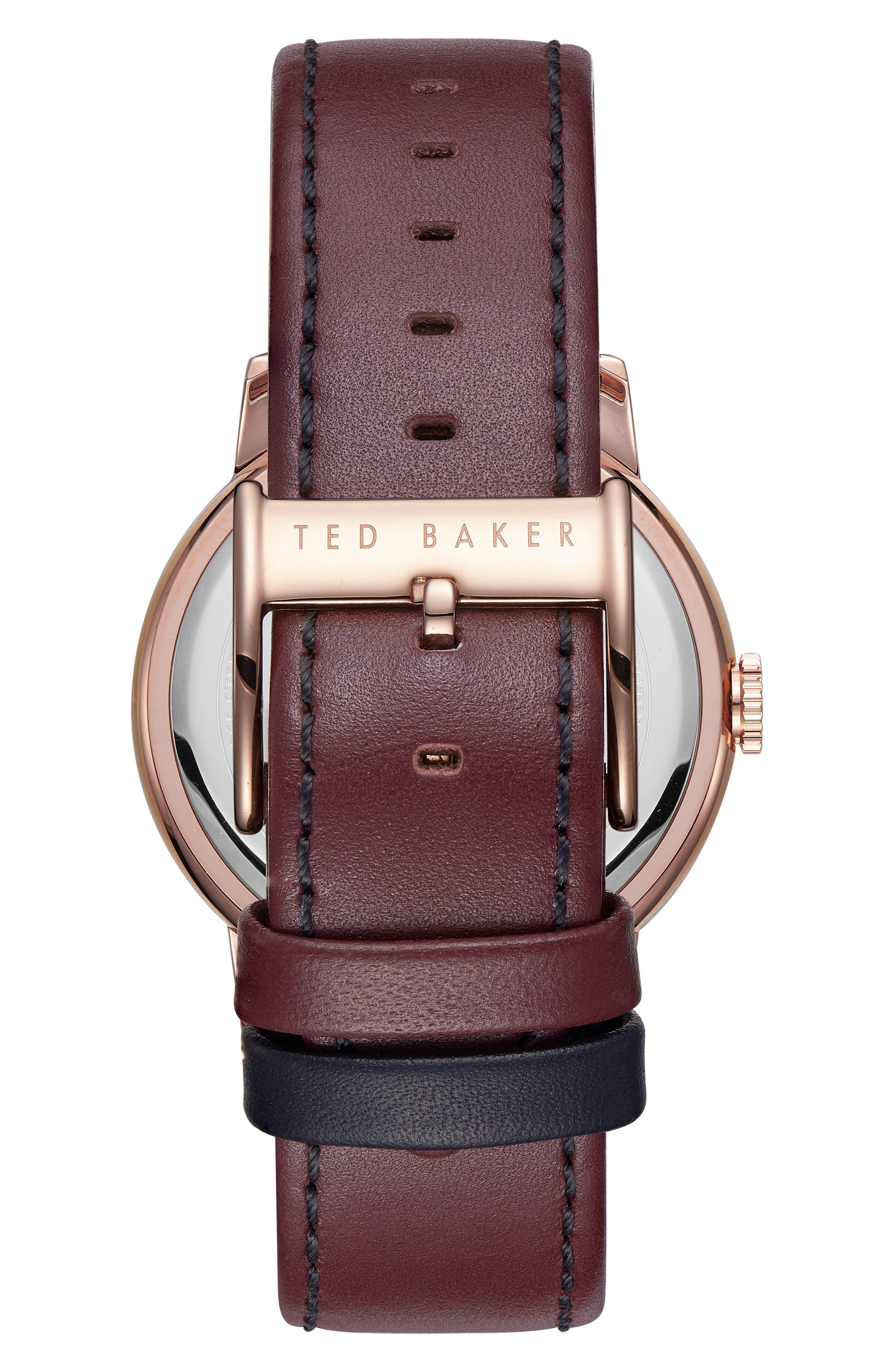 Daniel Leather Strap Watch, 42mm,                             Alternate thumbnail 2, color,                             WHITE/ BROWN