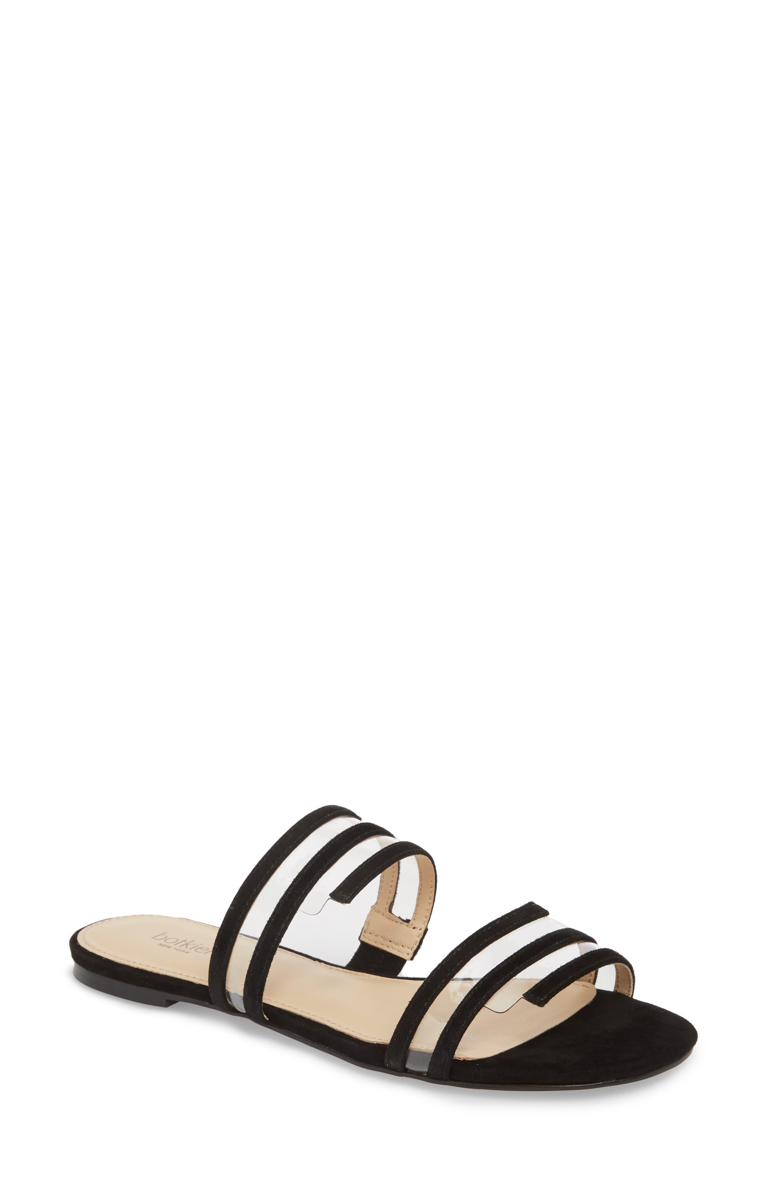 Maise Slide Sandal,                         Main,                         color, BLACK SUEDE