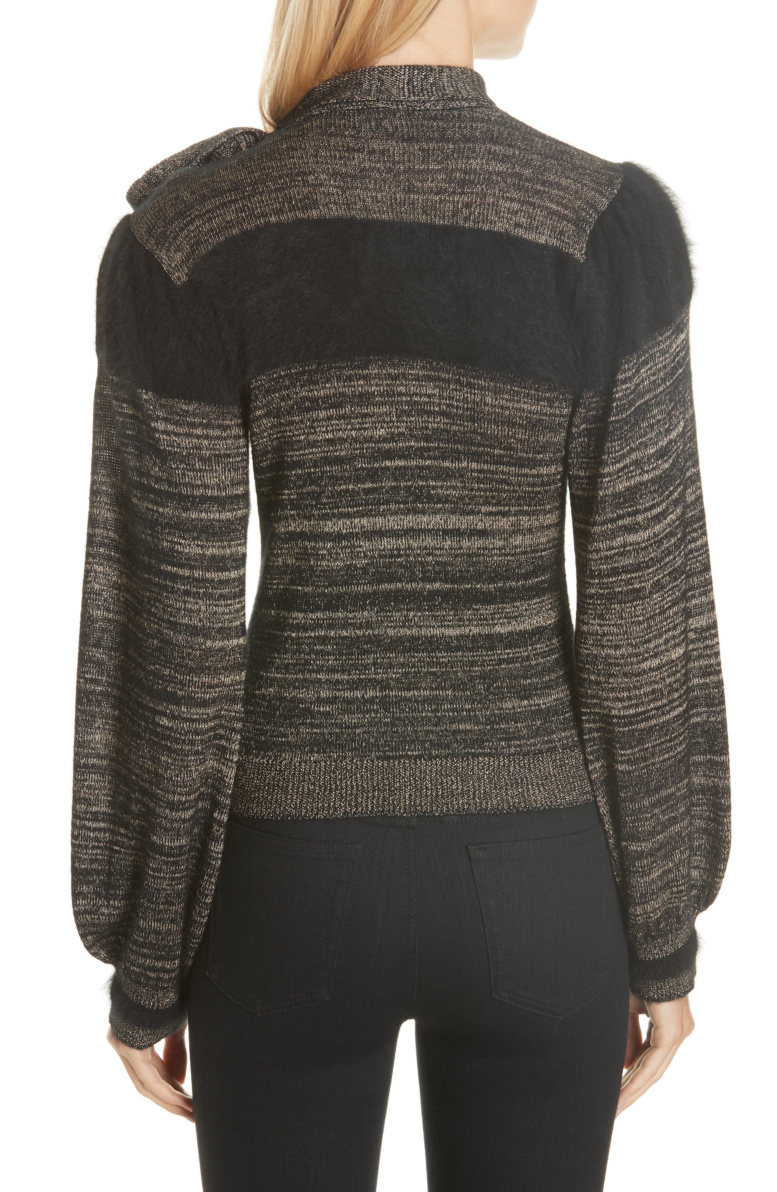 Fabia Tie Neck Cashmere Blend Sweater,                             Alternate thumbnail 2, color,                             NOIR