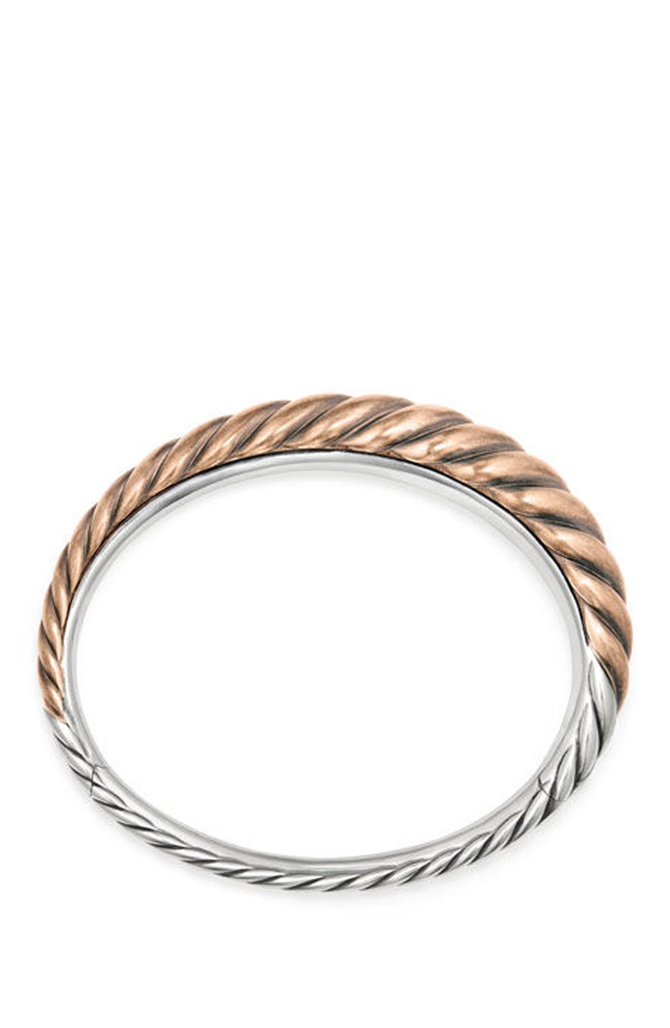 Pure Form Mixed Metal Cable Bracelet with Bronze and Silver, 9.5mm,                             Alternate thumbnail 3, color,                             SILVER
