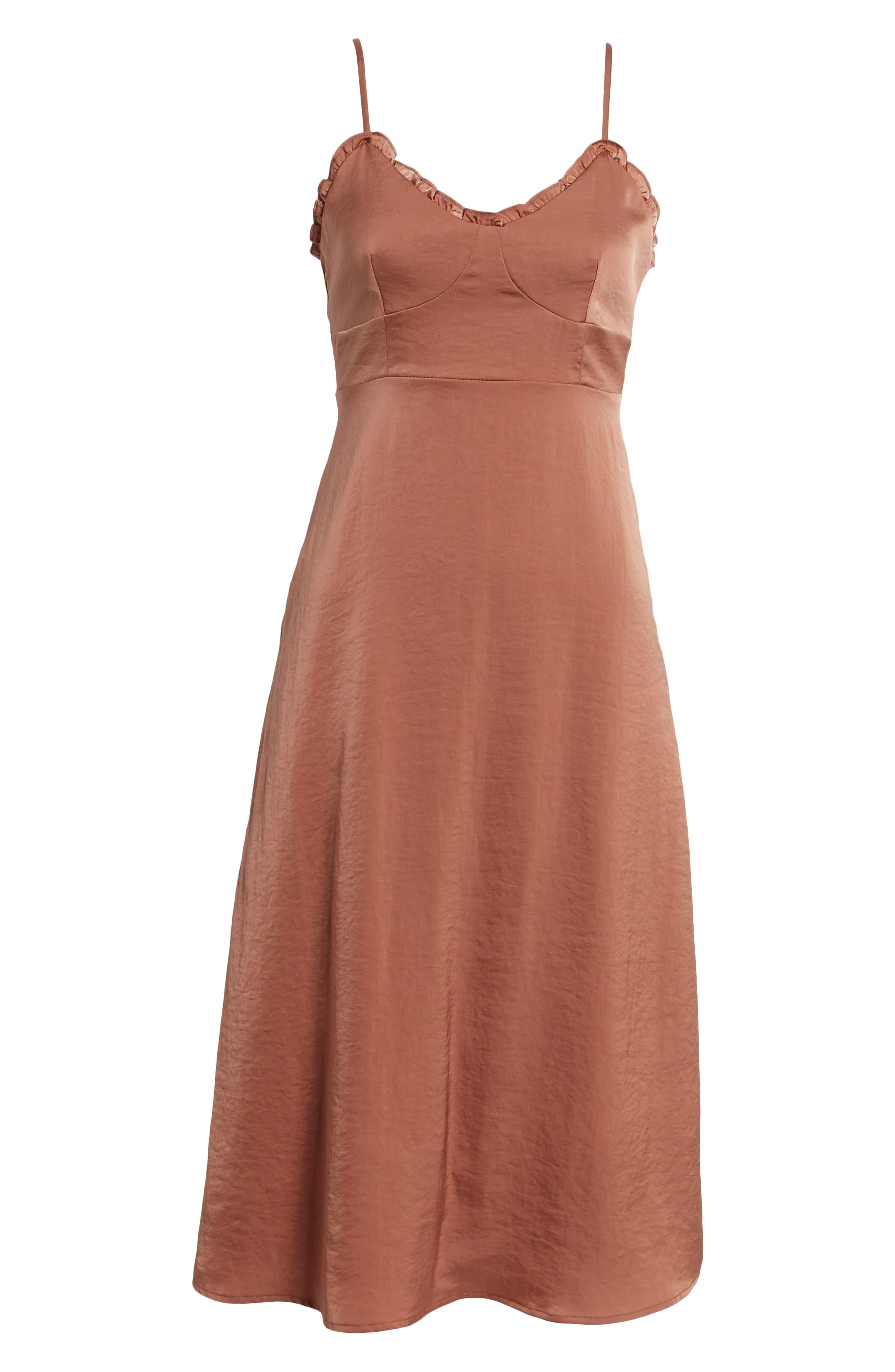 Ali Ruffle Trim Satin A-Line Midi Dress,                             Alternate thumbnail 6, color,                             250