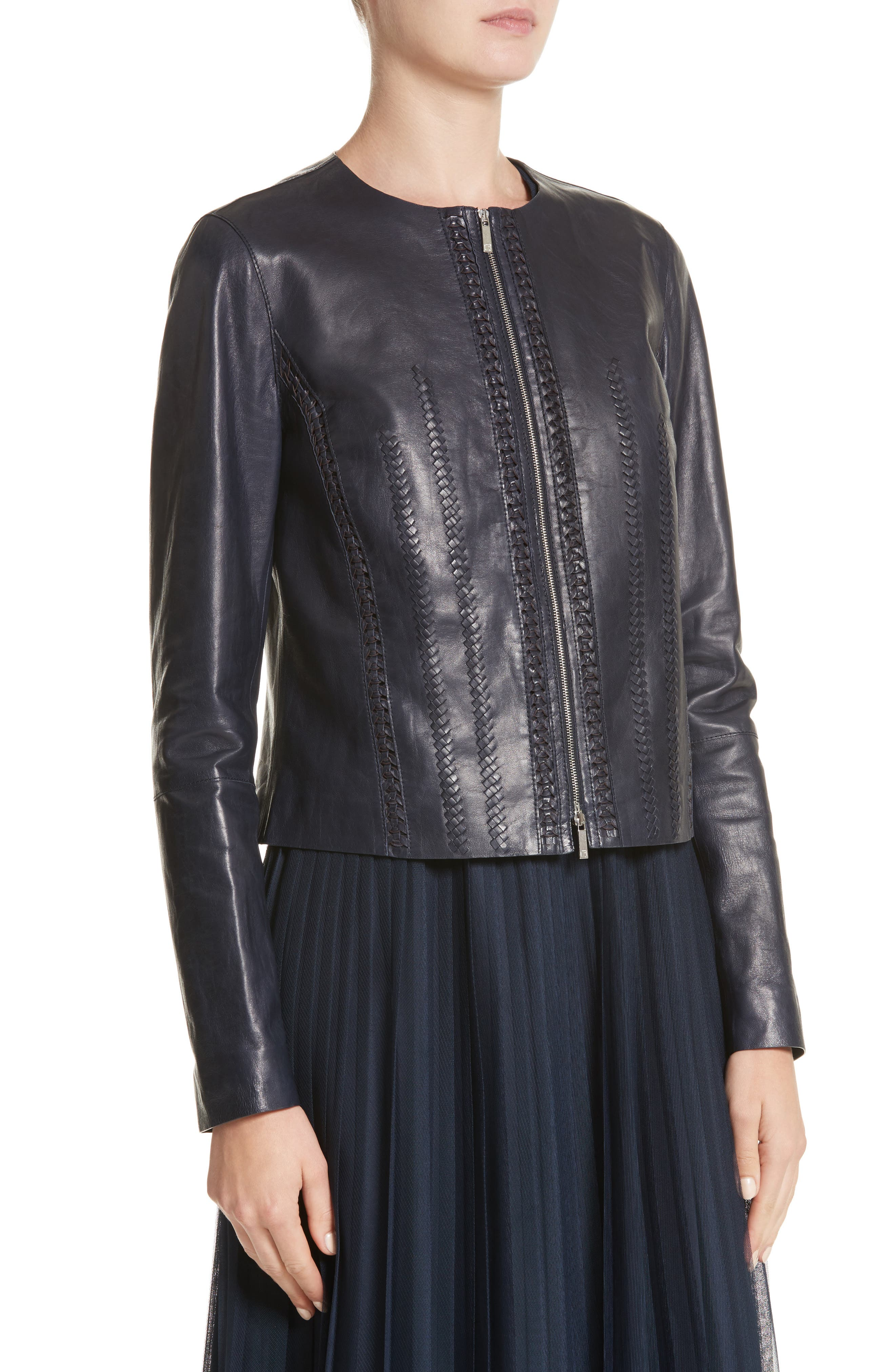 Clyde Lambskin Leather Jacket,                             Alternate thumbnail 4, color,                             479