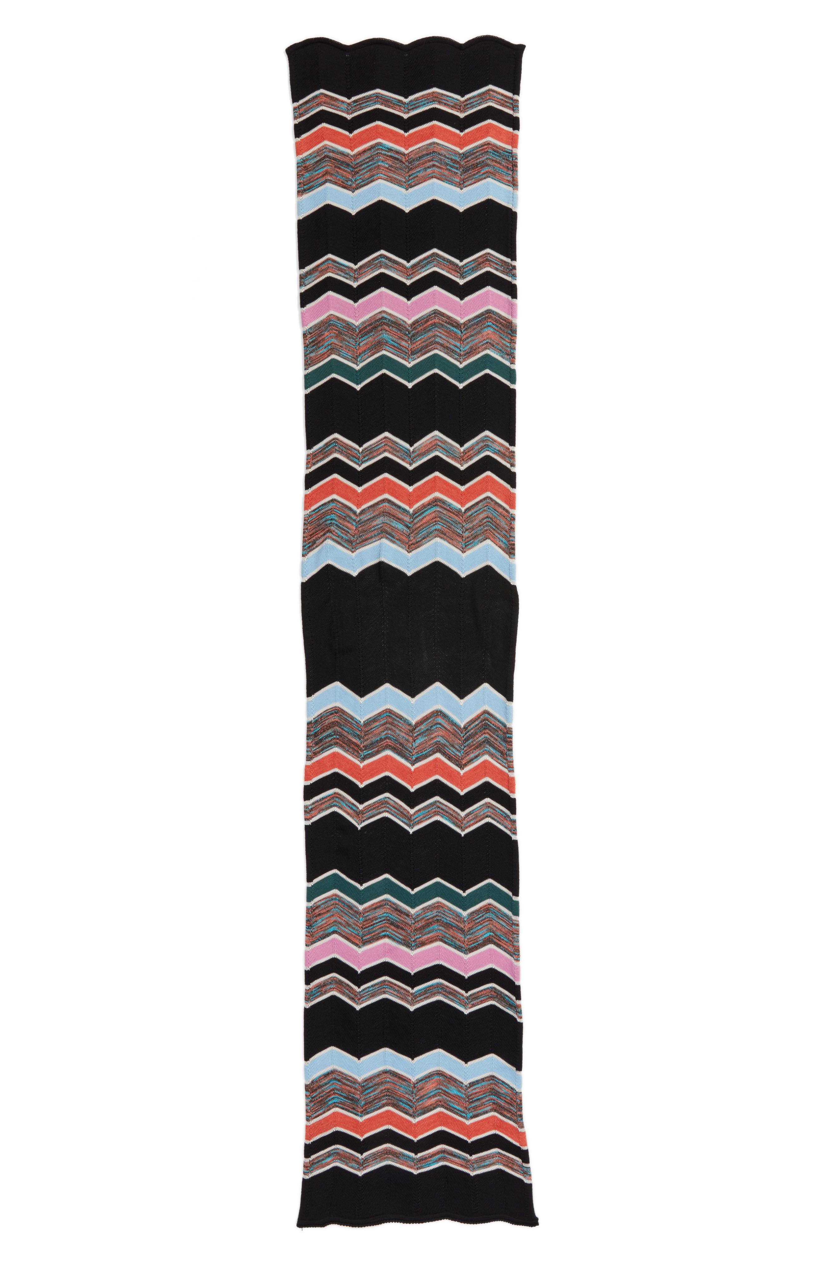 Zigzag Scarf,                         Main,                         color, PINK/ BLACK