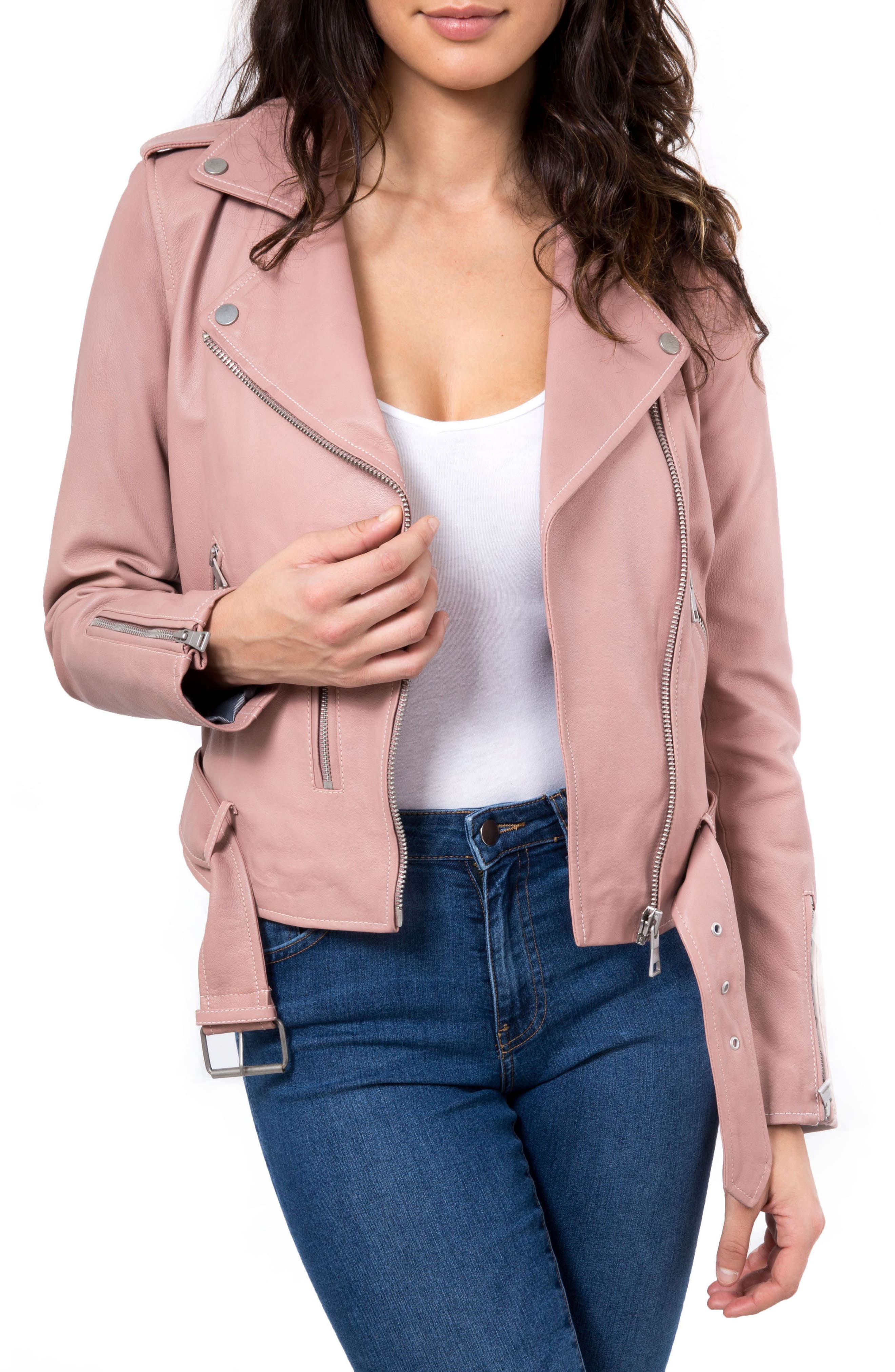 NYC  Washed Leather Biker Jacket,                             Main thumbnail 2, color,