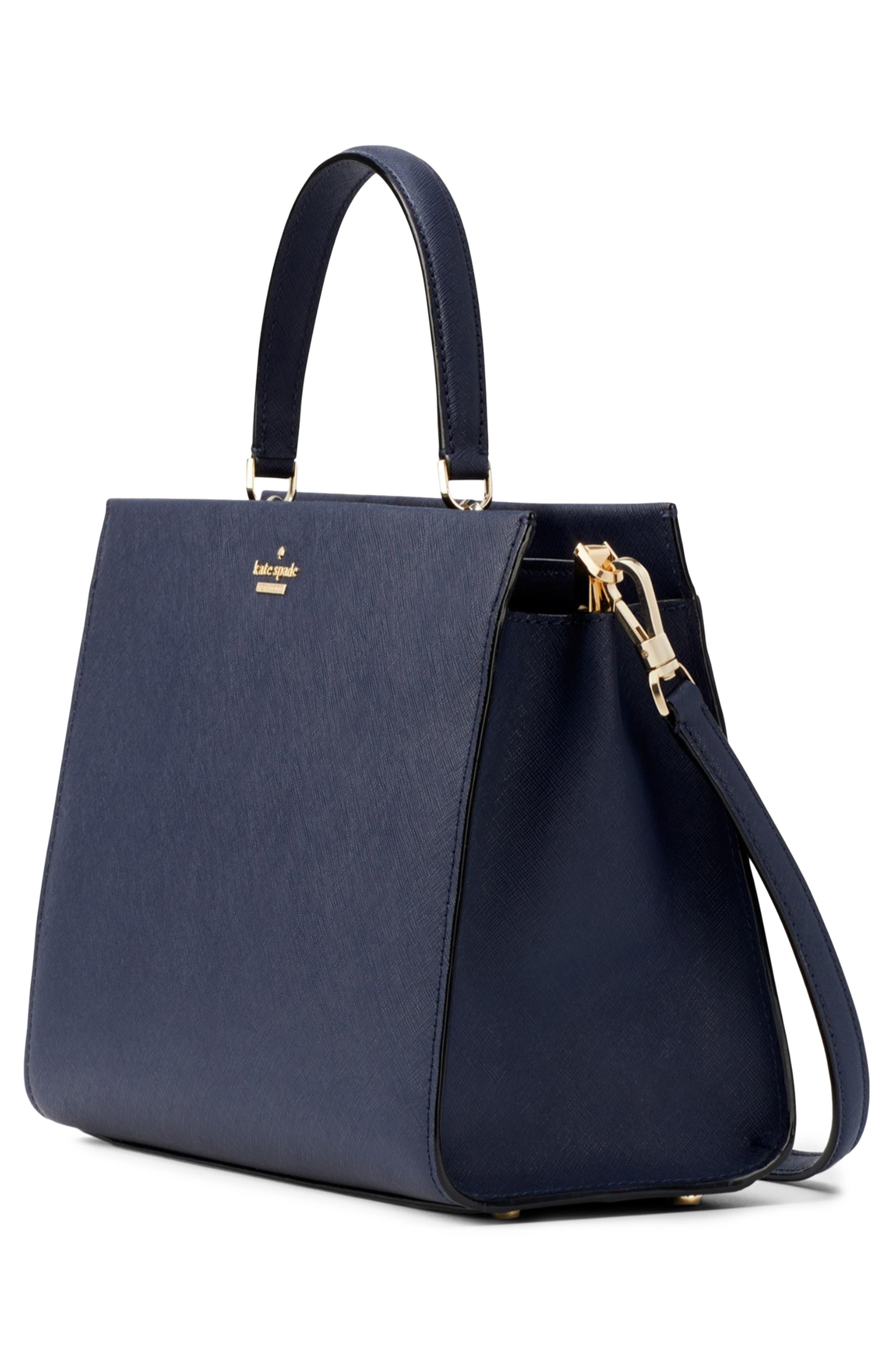 cameron street - sara leather satchel,                             Alternate thumbnail 3, color,                             BLAZER BLUE