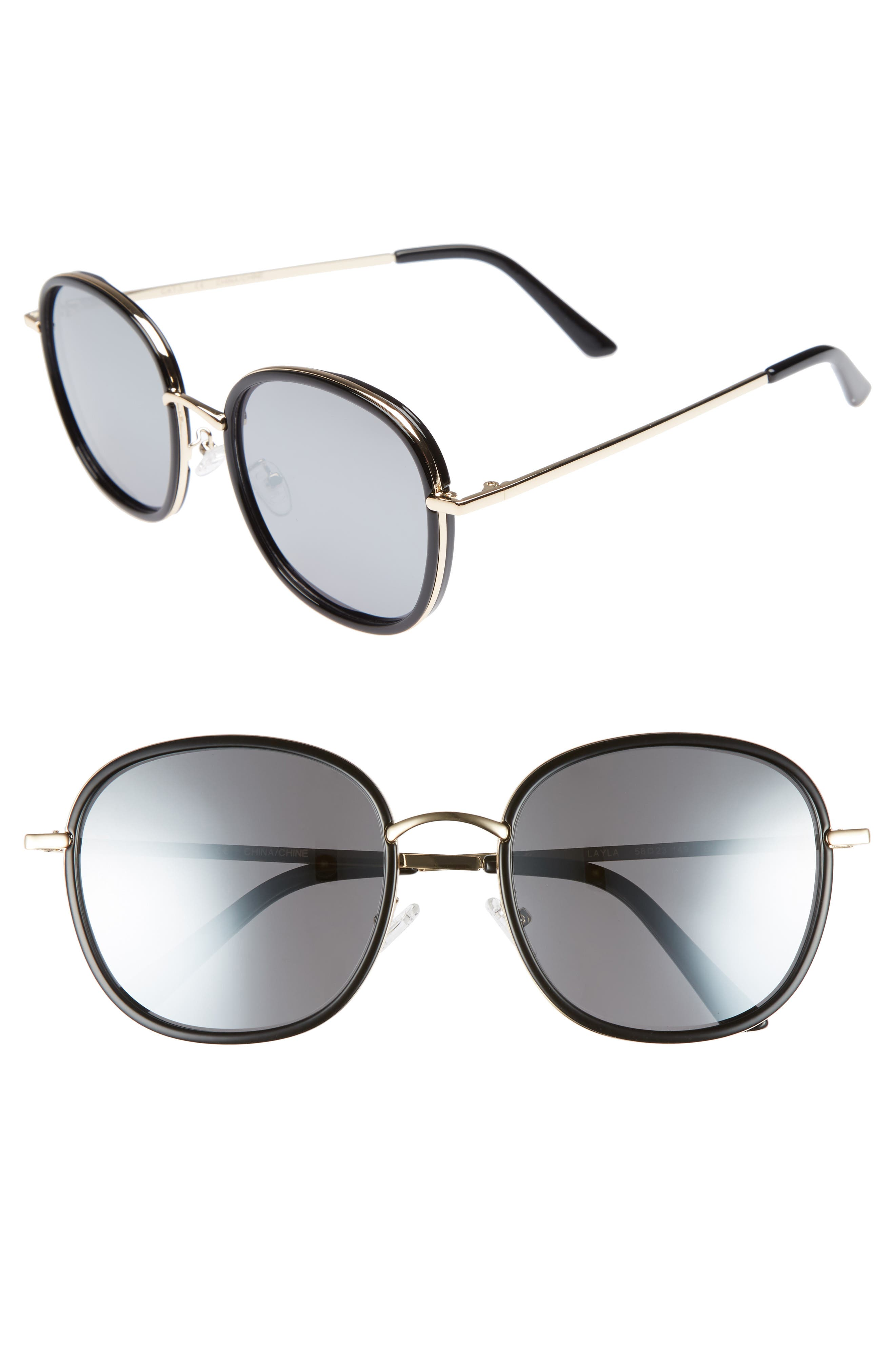 Layla 58mm Sunglasses,                             Main thumbnail 1, color,                             BLACK