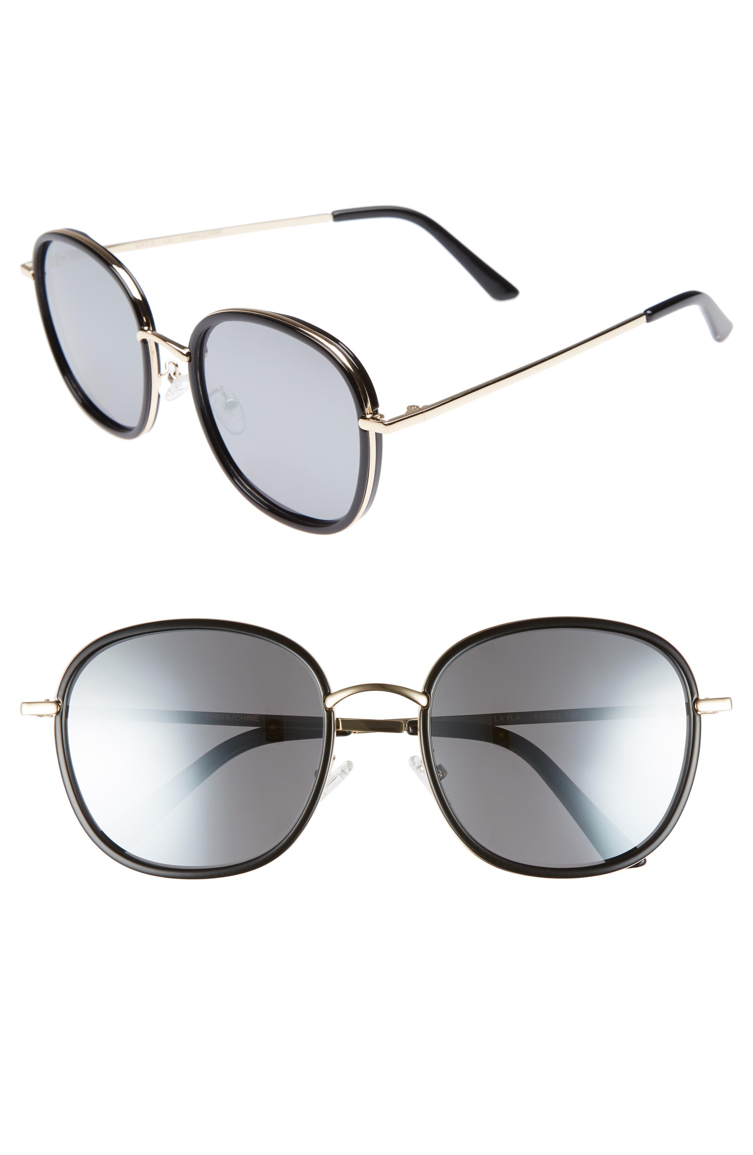 Layla 58mm Sunglasses,                         Main,                         color, BLACK