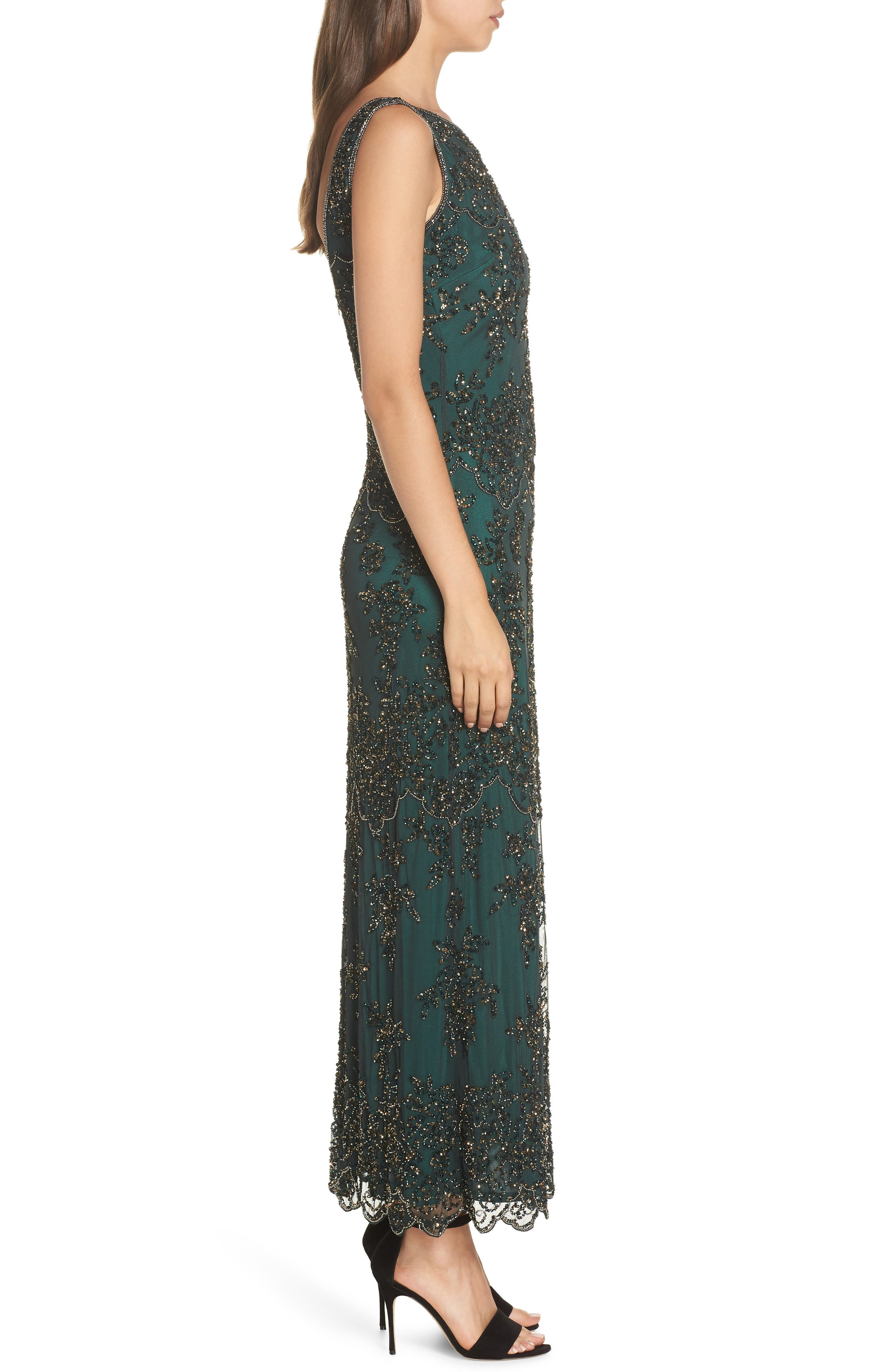 Embellished Mesh Gown,                             Alternate thumbnail 3, color,                             HUNTER