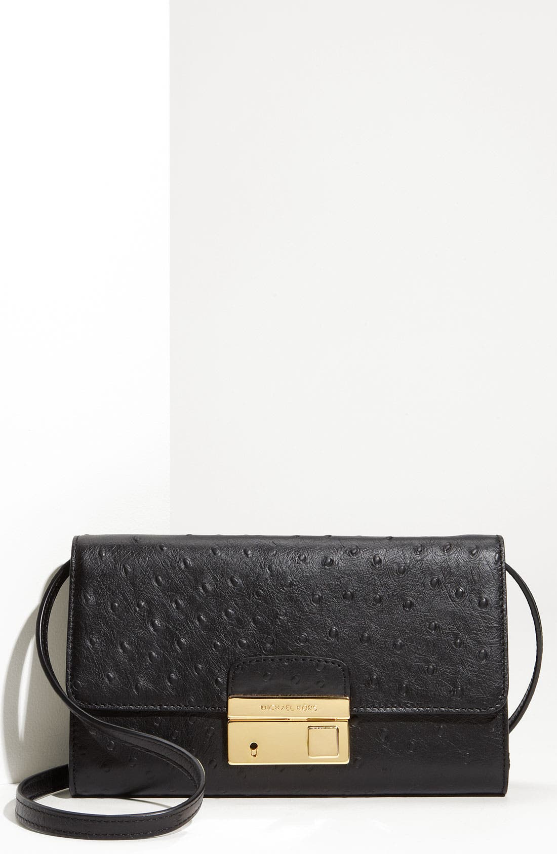 'Gia' Ostrich Embossed Clutch,                             Main thumbnail 1, color,                             001