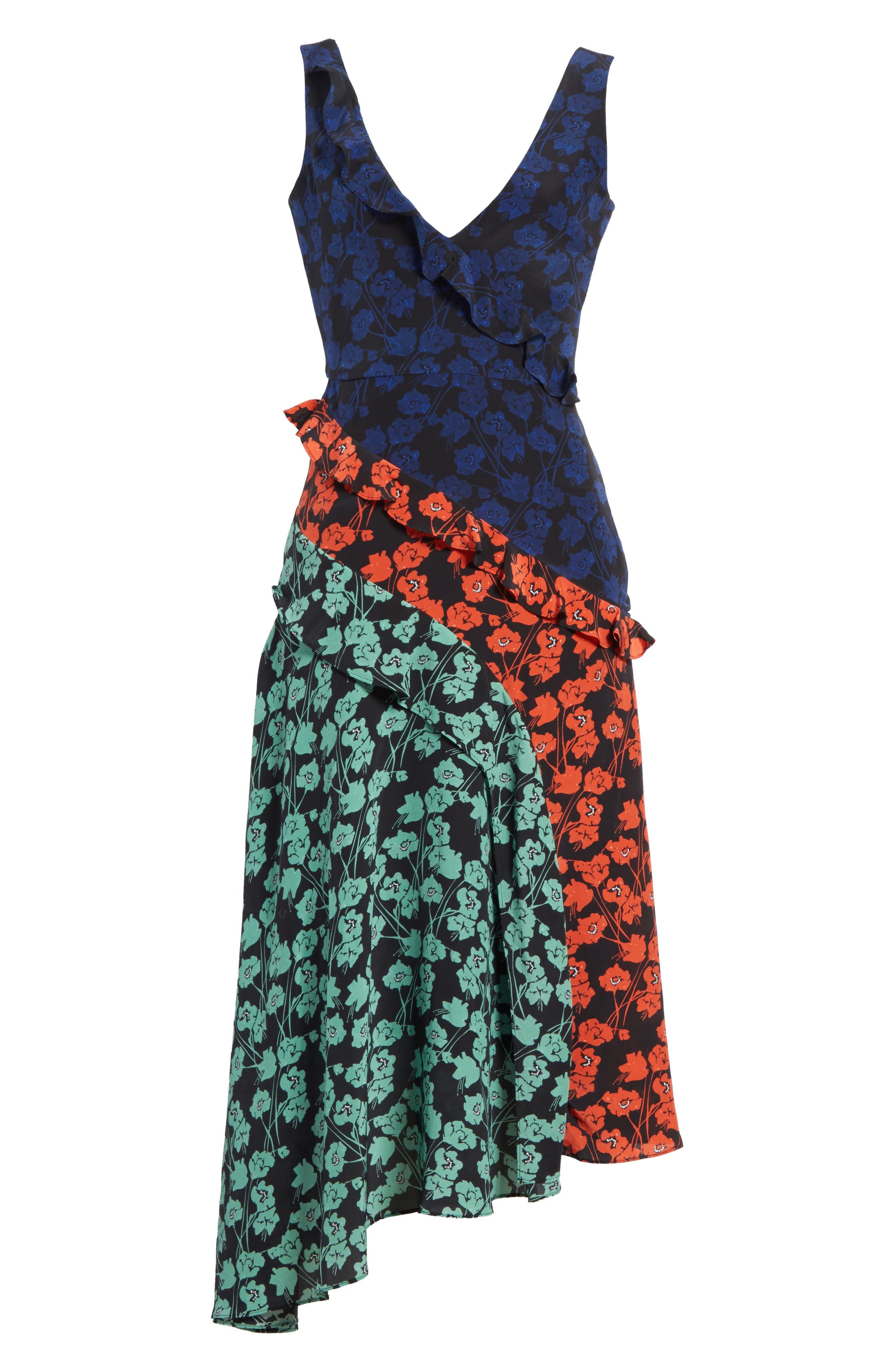 Aggie Floral Print Silk Dress,                             Alternate thumbnail 6, color,                             465