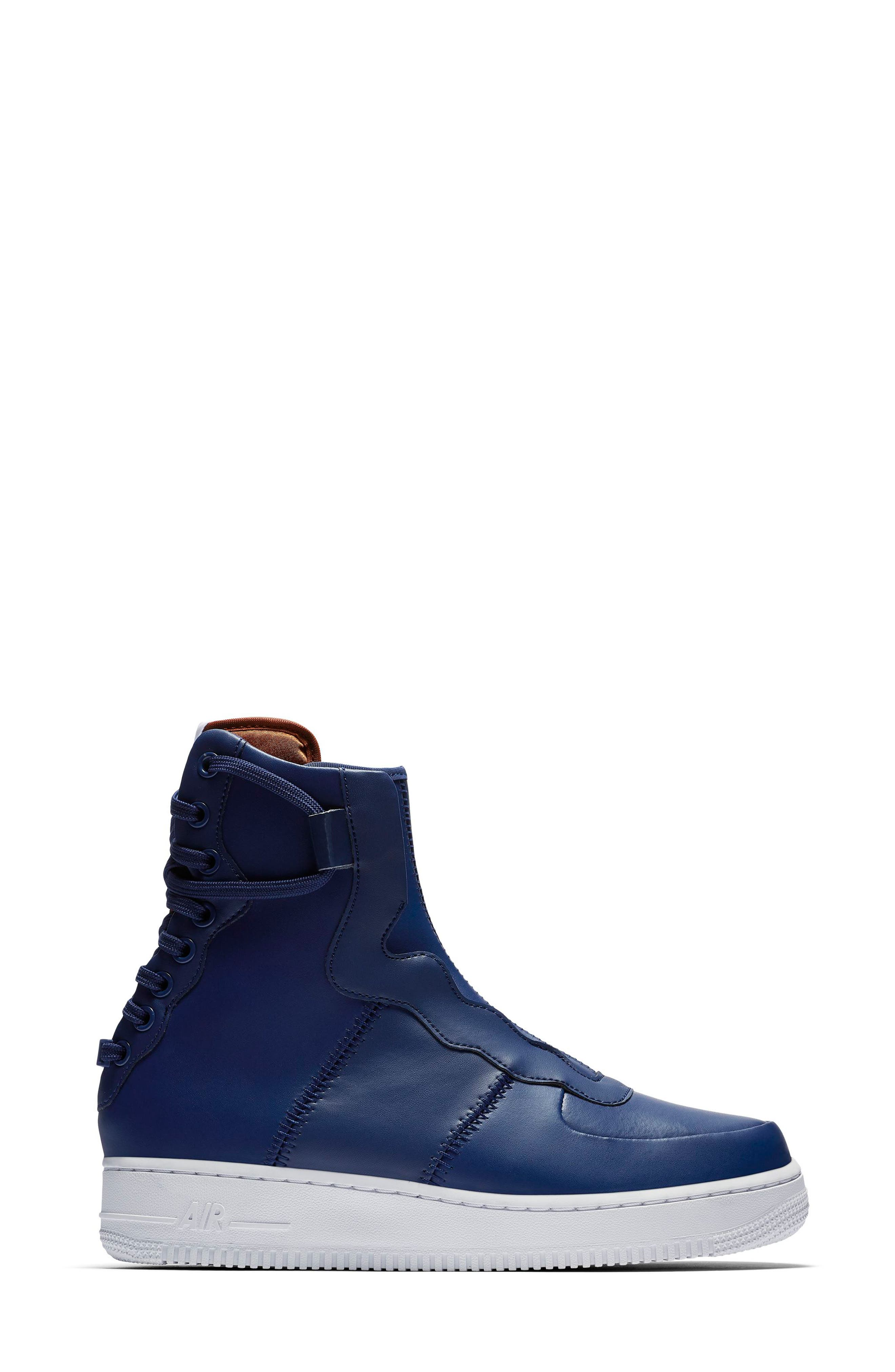 Air Force 1 Rebel XX High Top Sneaker,                             Alternate thumbnail 3, color,                             BLUE VOID/ RUSSET/ WHITE/ BLUE
