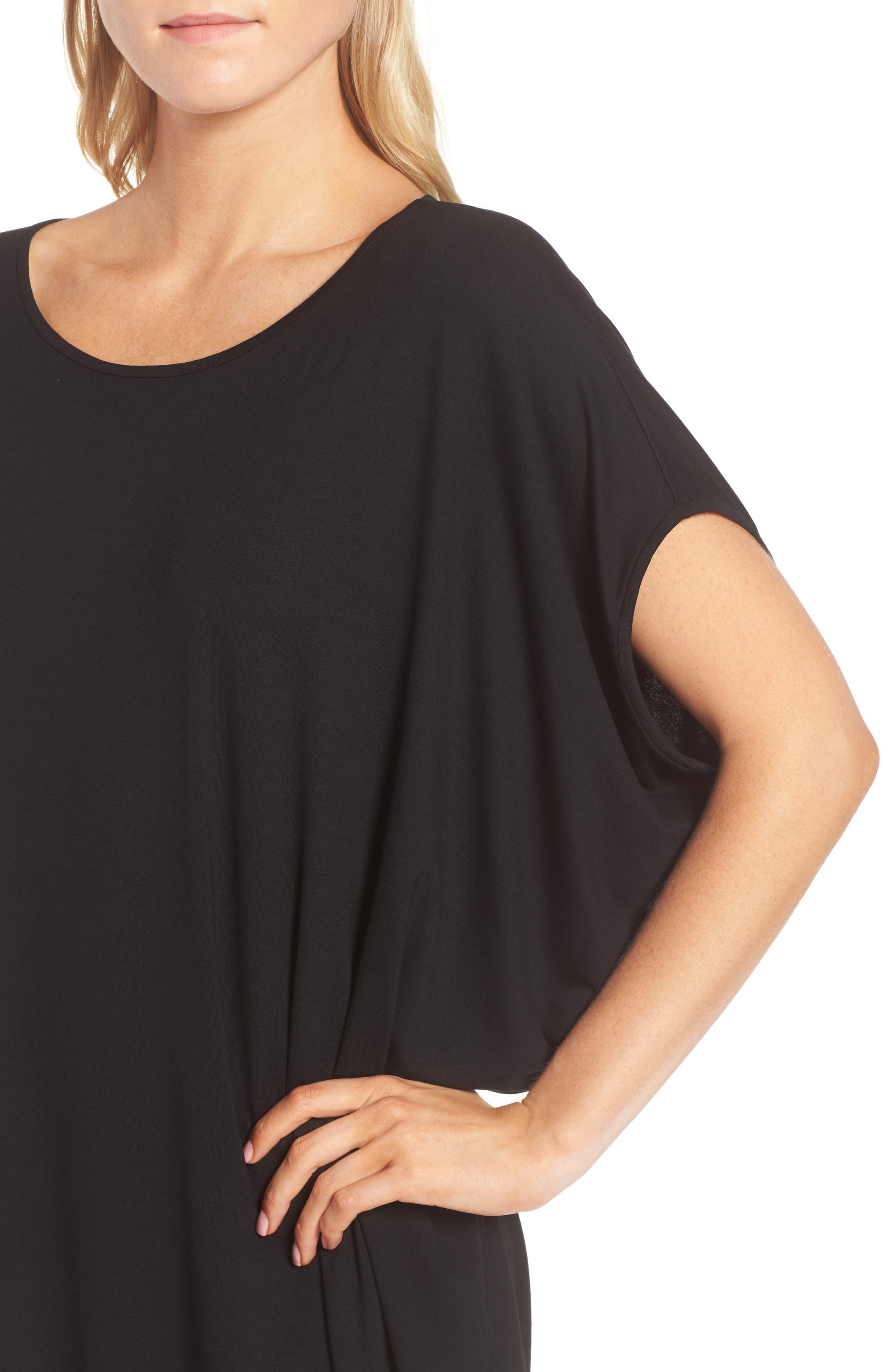 Asymmetrical Jersey Shift Dress,                             Alternate thumbnail 4, color,                             001