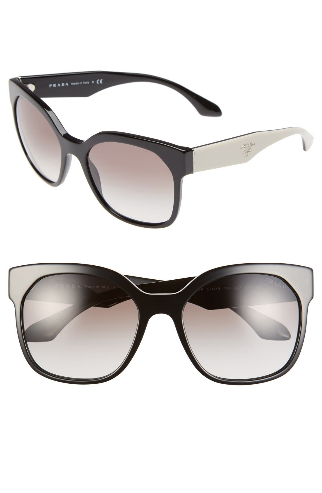 PRADA 57mm Sunglasses, Main, color, 001