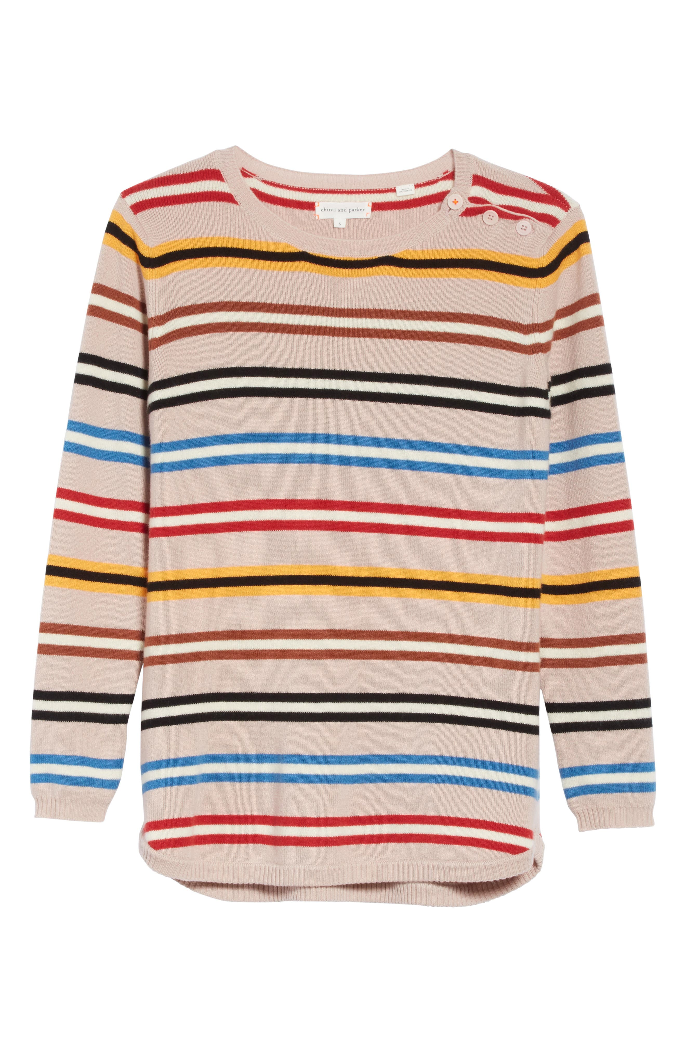 Stripe Cashmere Sweater,                             Alternate thumbnail 6, color,                             250