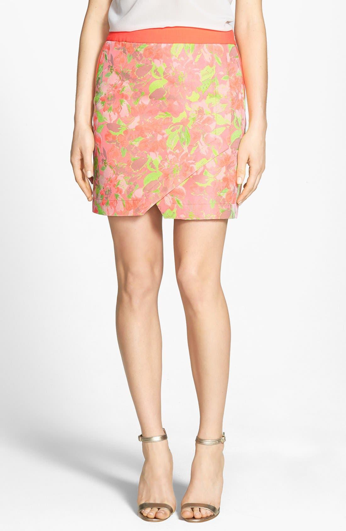 'Keleche' Jacquard Faux Wrap Skirt, Main, color, 683