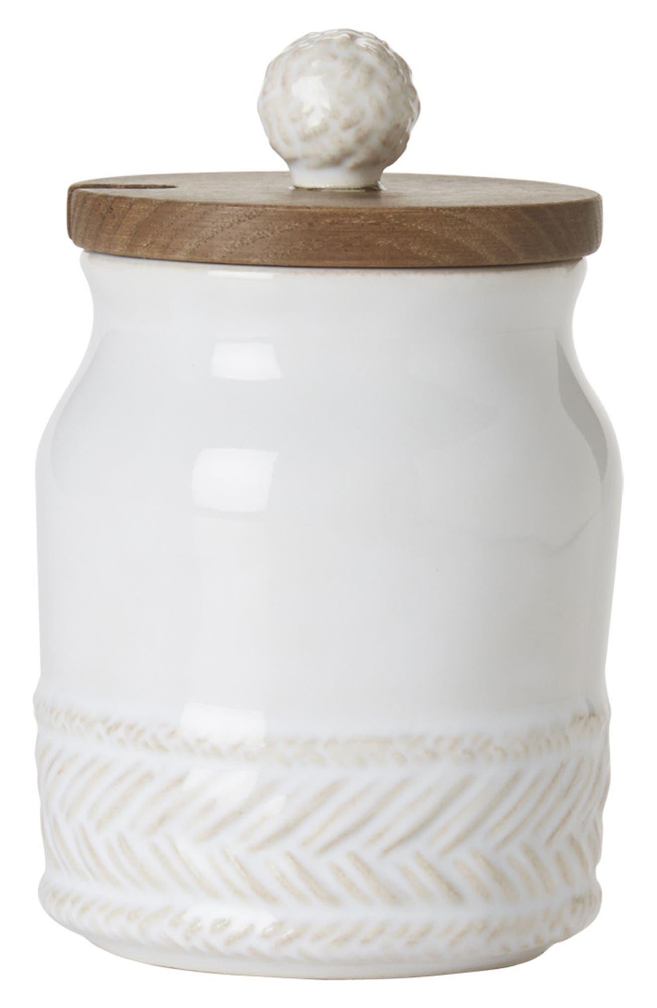 Le Panier Ceramic Sugar Pot,                             Main thumbnail 1, color,                             WHITEWASH