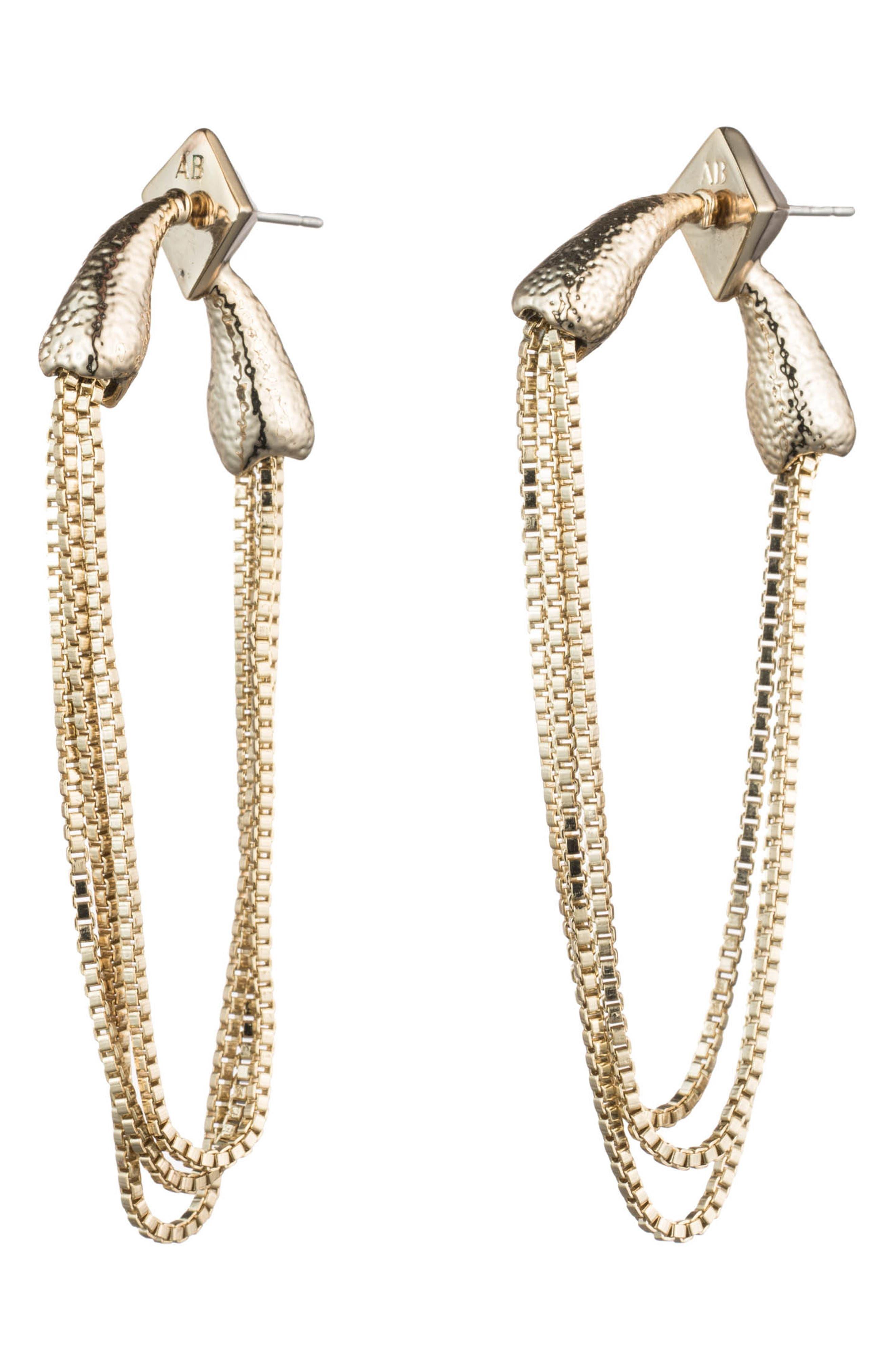 Snake Chain Earrings,                         Main,                         color, 10K GOLD