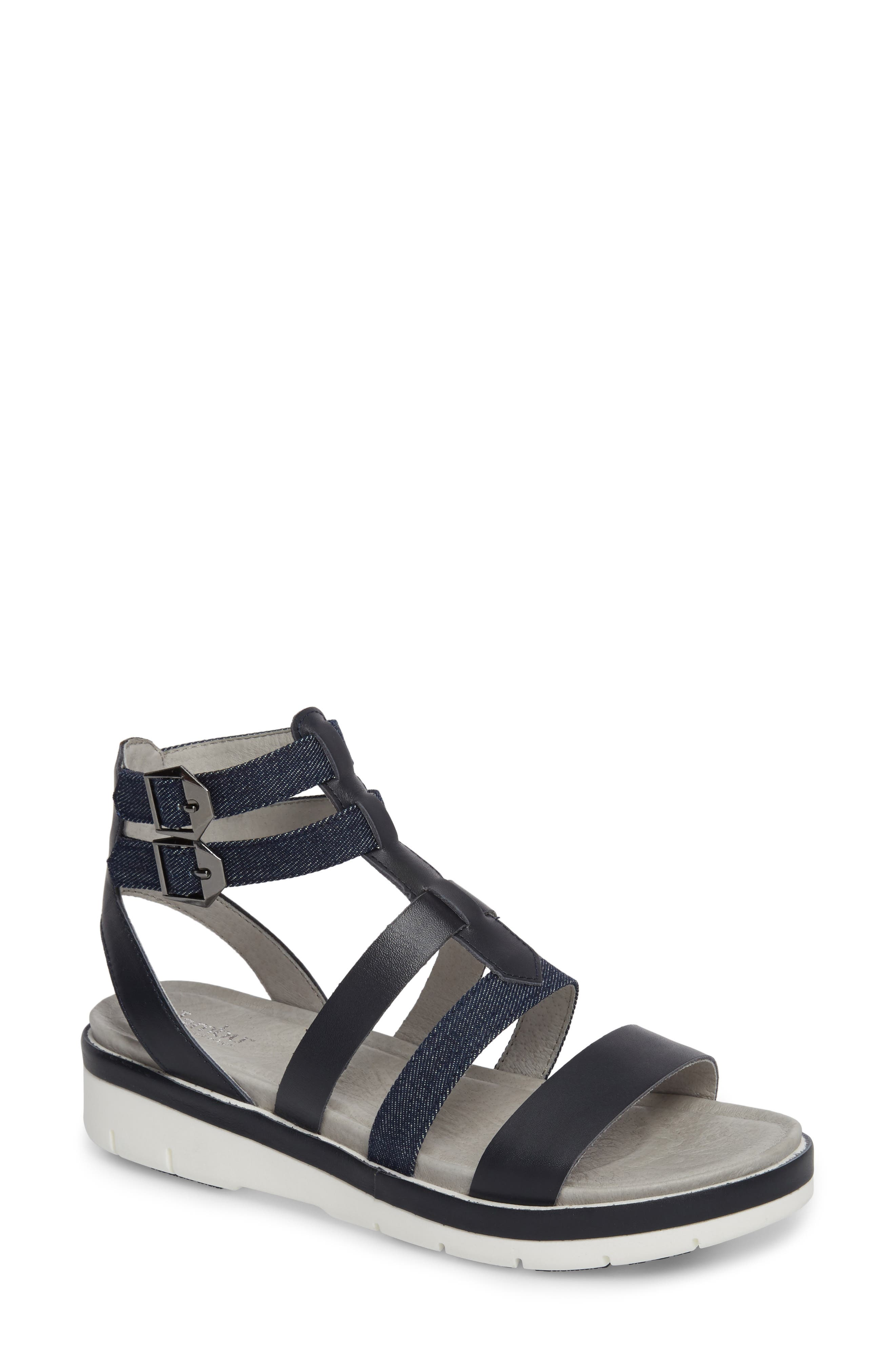 Piper Sandal,                         Main,                         color, NAVY LEATHER