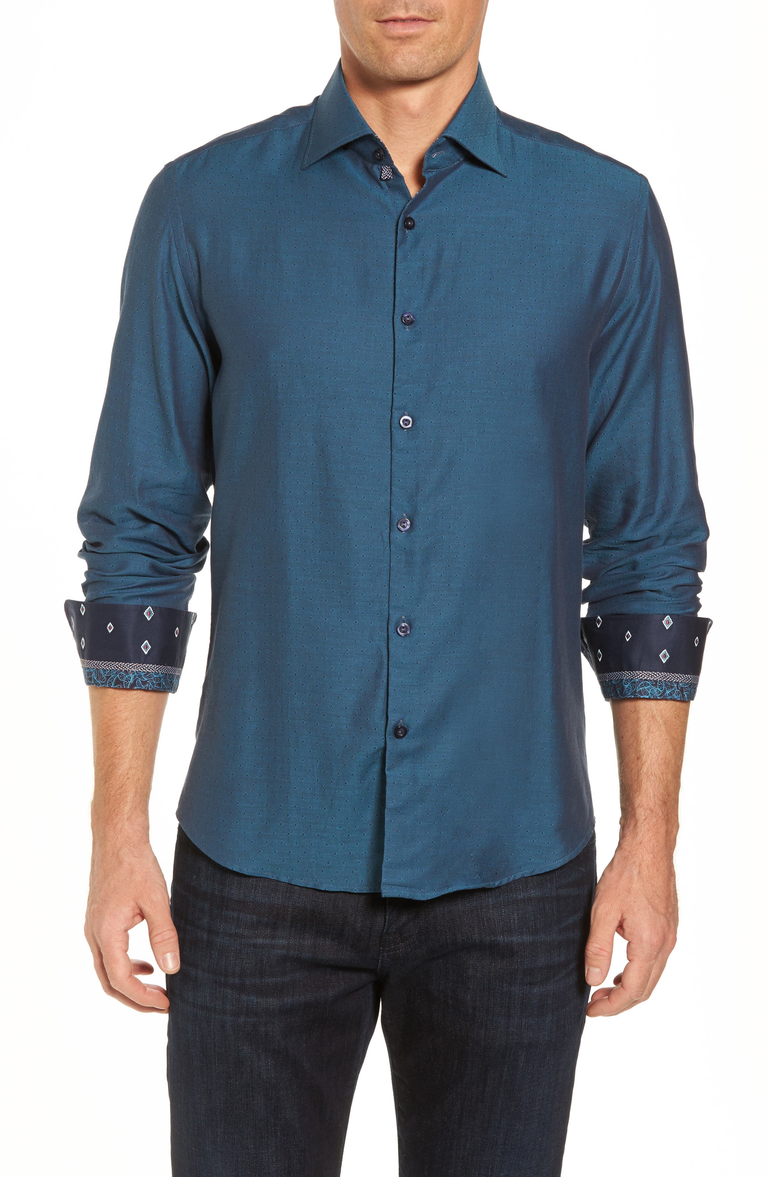 Slim Fit Diamond Twill Sport Shirt,                         Main,                         color, TEAL