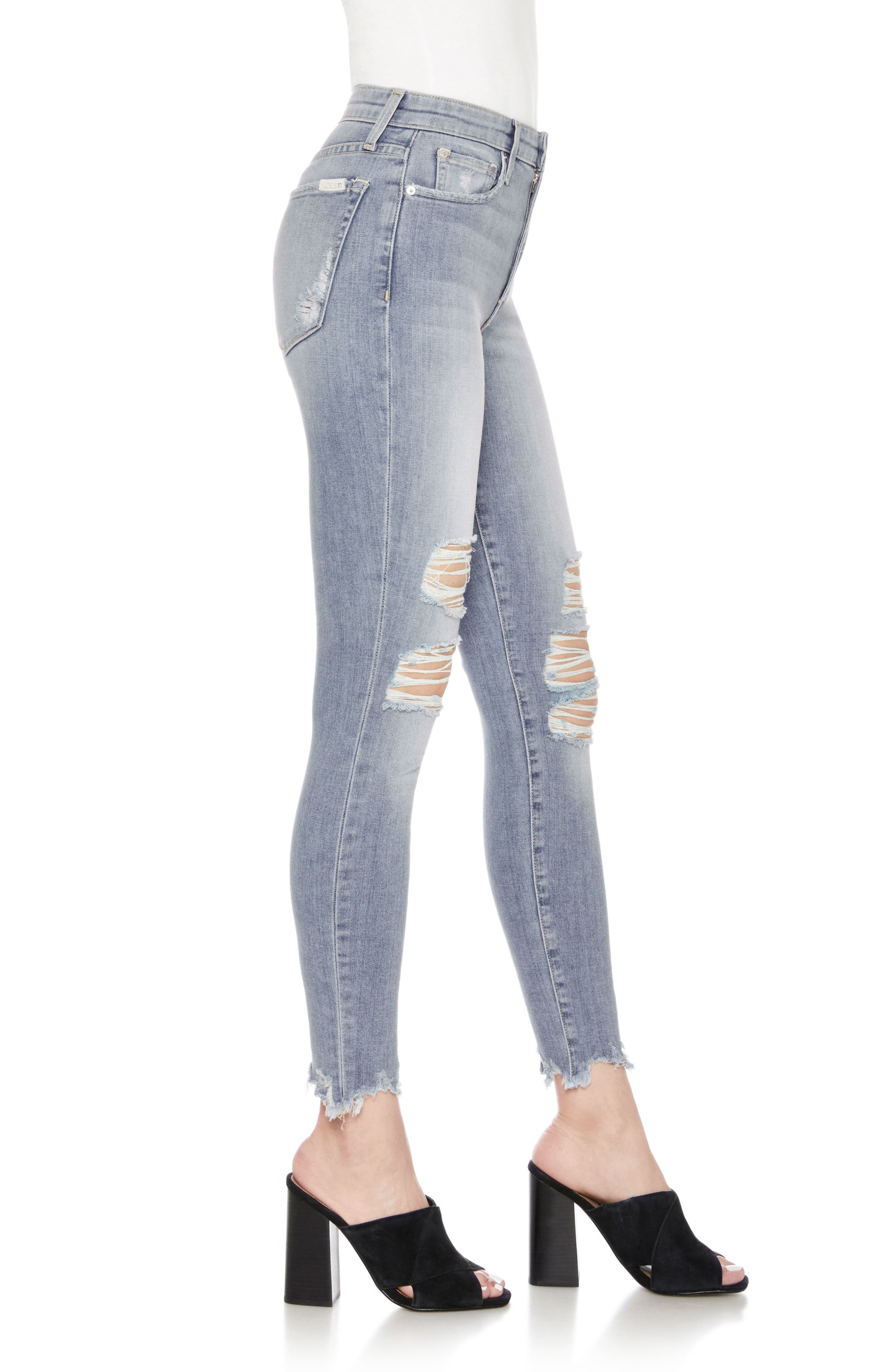 The Charlie High Waist Ripped Ankle Skinny Jeans,                             Alternate thumbnail 3, color,