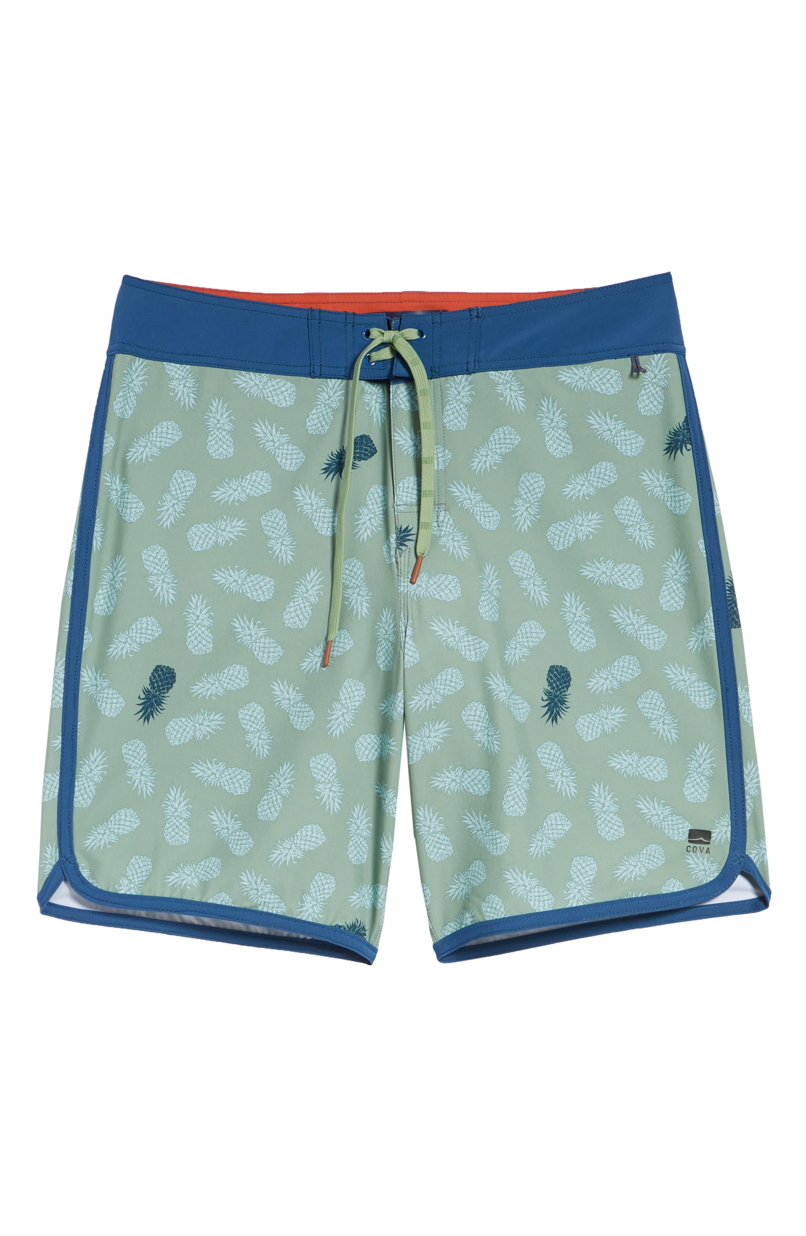 Colada Regular Fit Board Shorts,                             Alternate thumbnail 6, color,                             BASIL GREEN