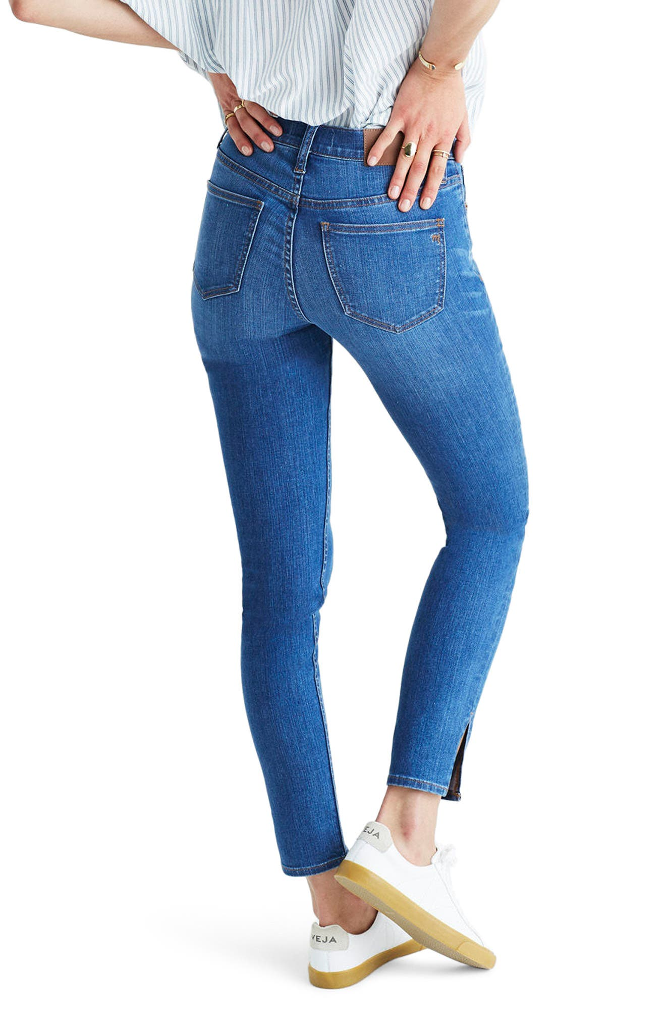 MADEWELL,                             9-Inch High-Rise Skinny Jeans: Side-Slit Edition,                             Alternate thumbnail 2, color,                             400