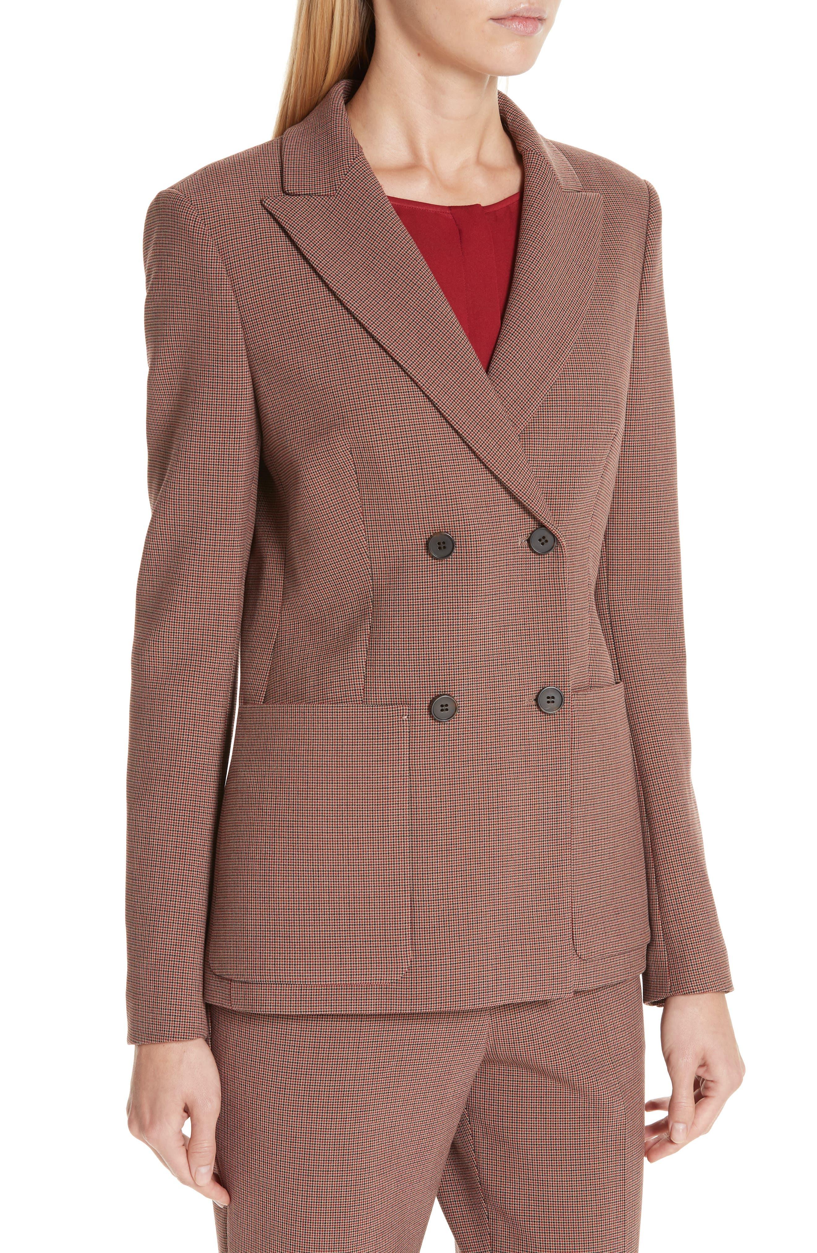 Joliviena Check Suit Jacket,                             Alternate thumbnail 4, color,                             DARK RED CHECK