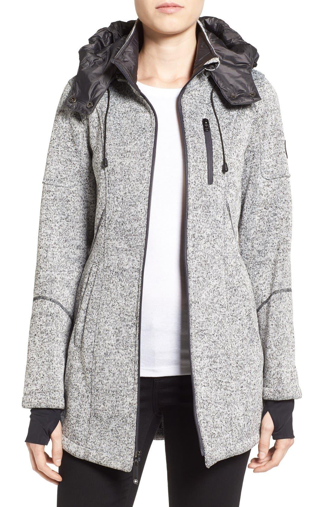 Bonded Knit Zip Front Jacket,                             Main thumbnail 1, color,                             070